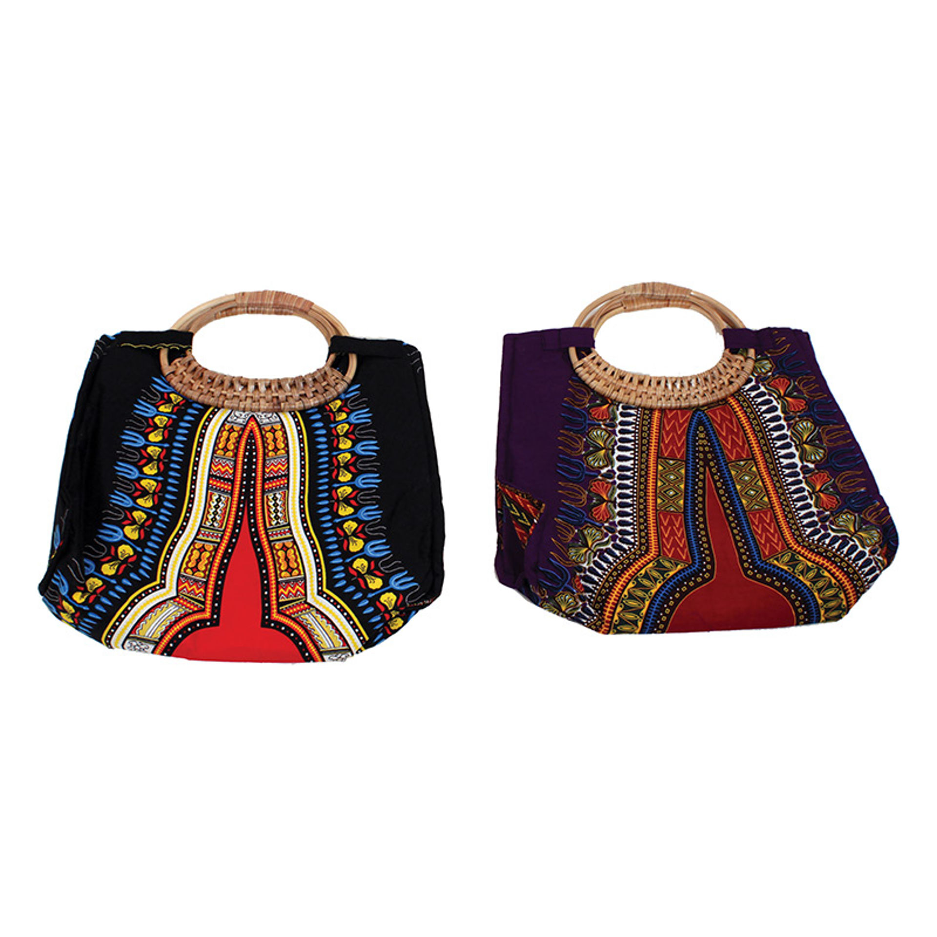 Picture of Traditional Print Wicker Handle Bag