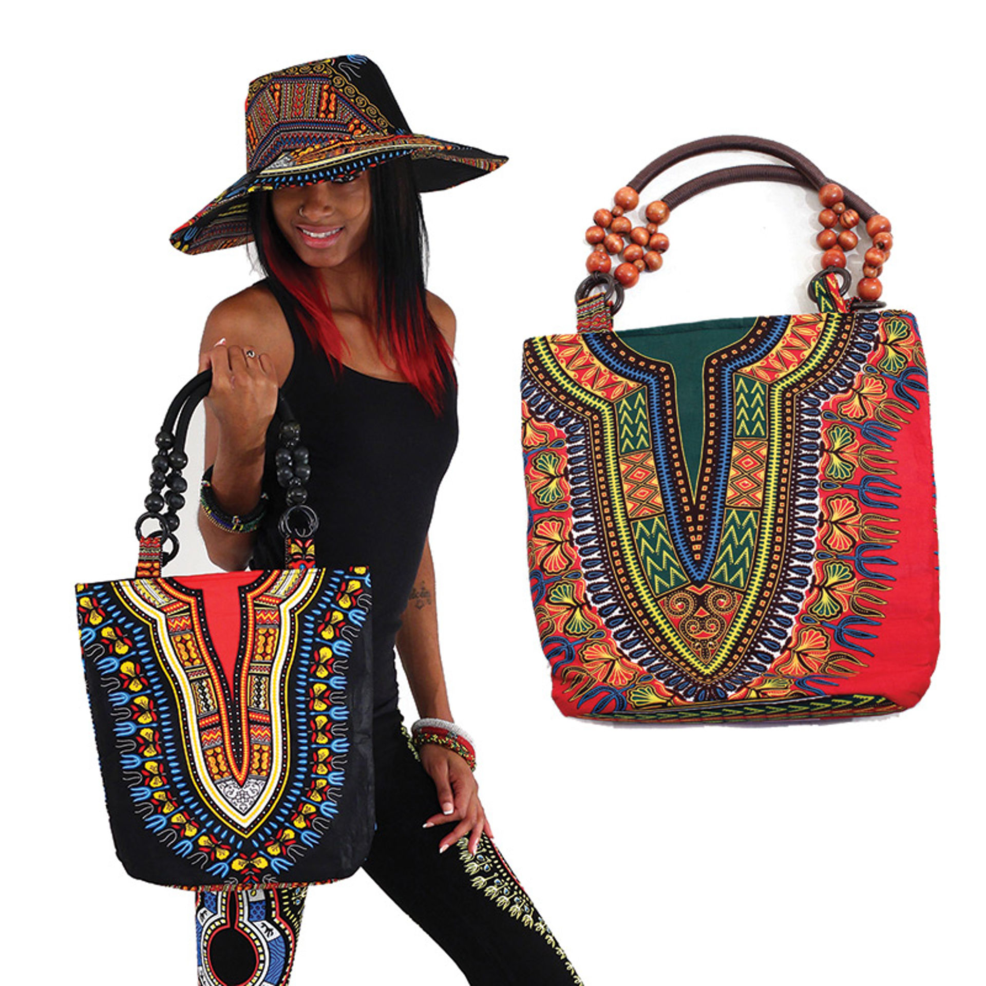 Picture of Traditional Print Beaded Tote Bag