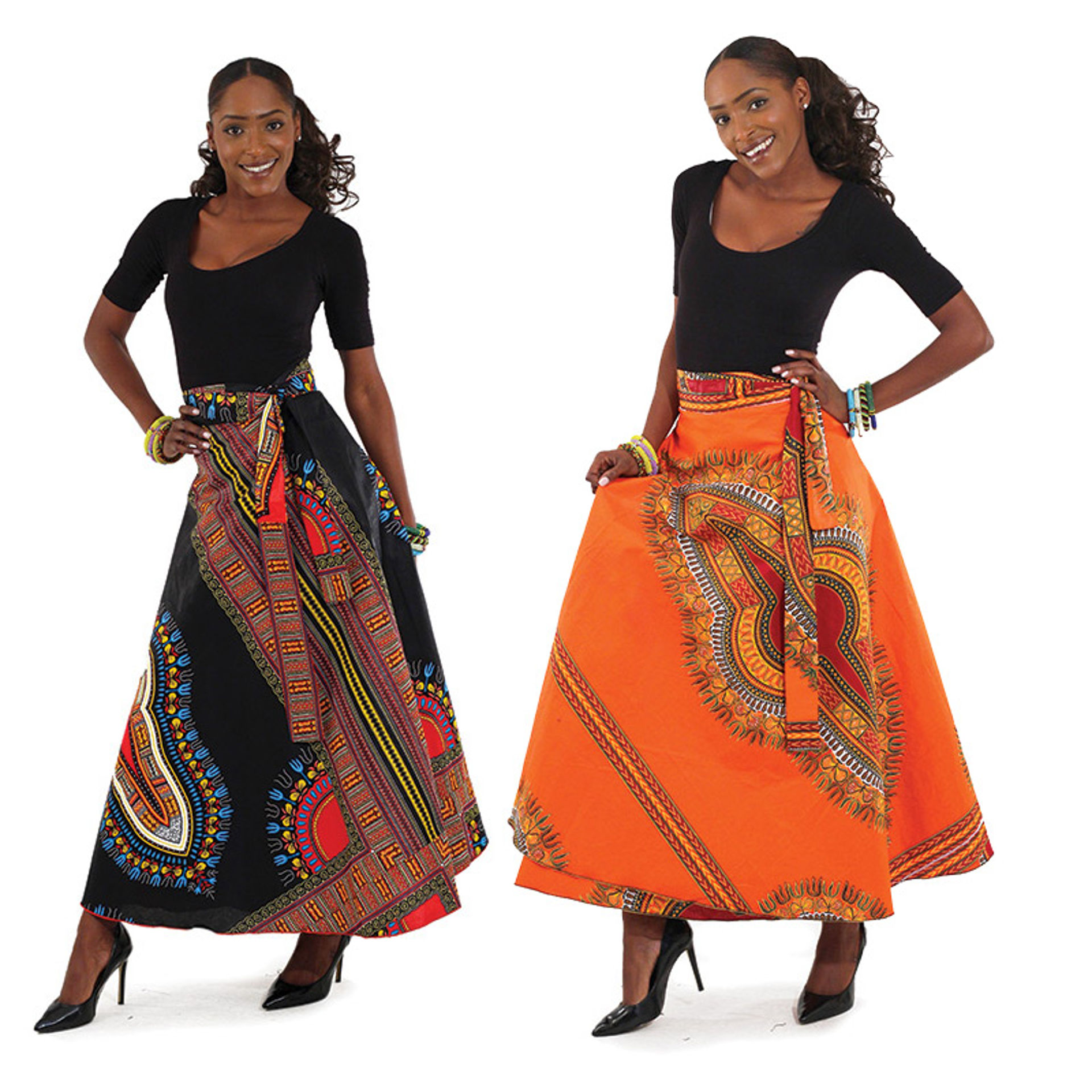 Picture of Traditional Print Wrap Skirt