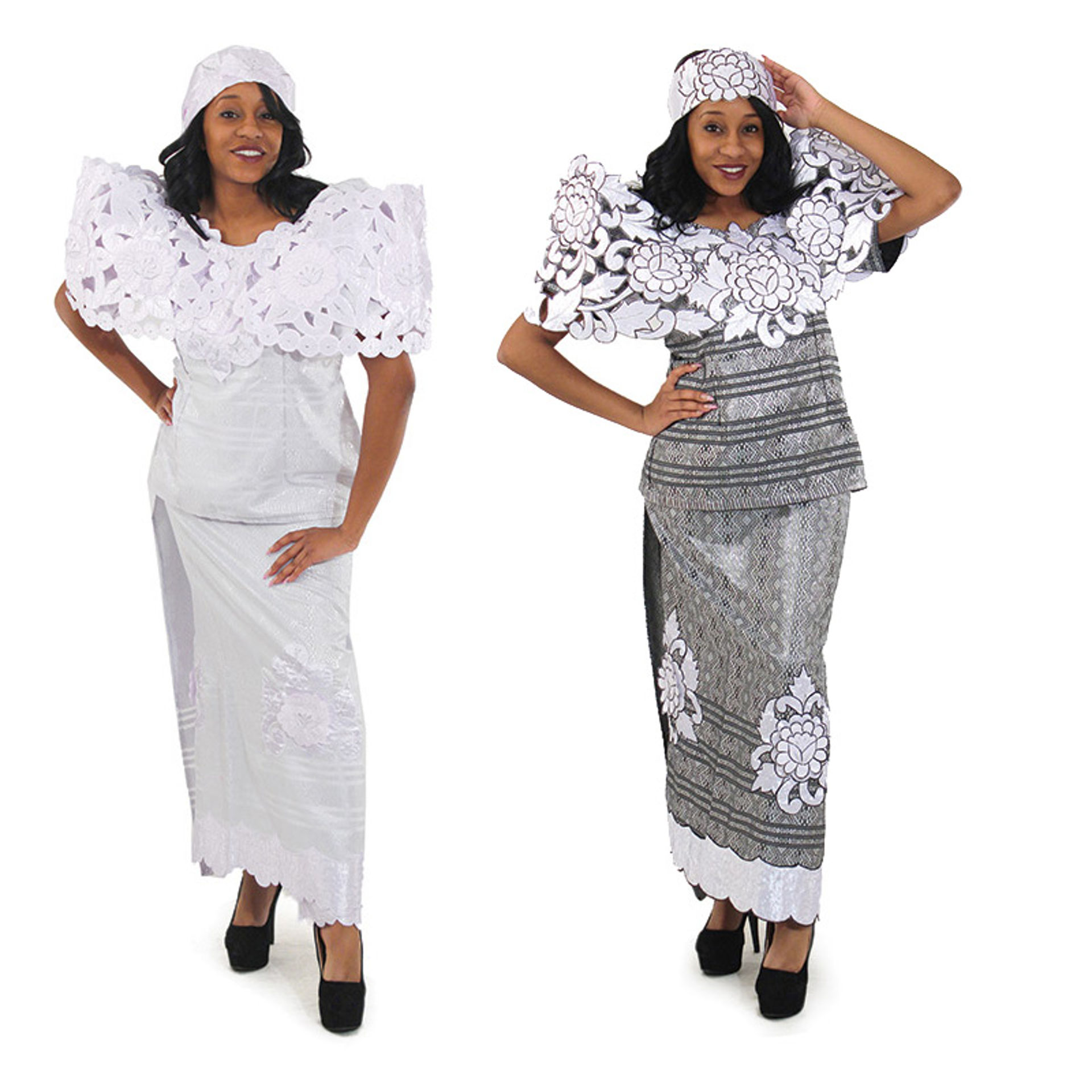 Picture of Embellished Nigerian Lappa Skirt Set