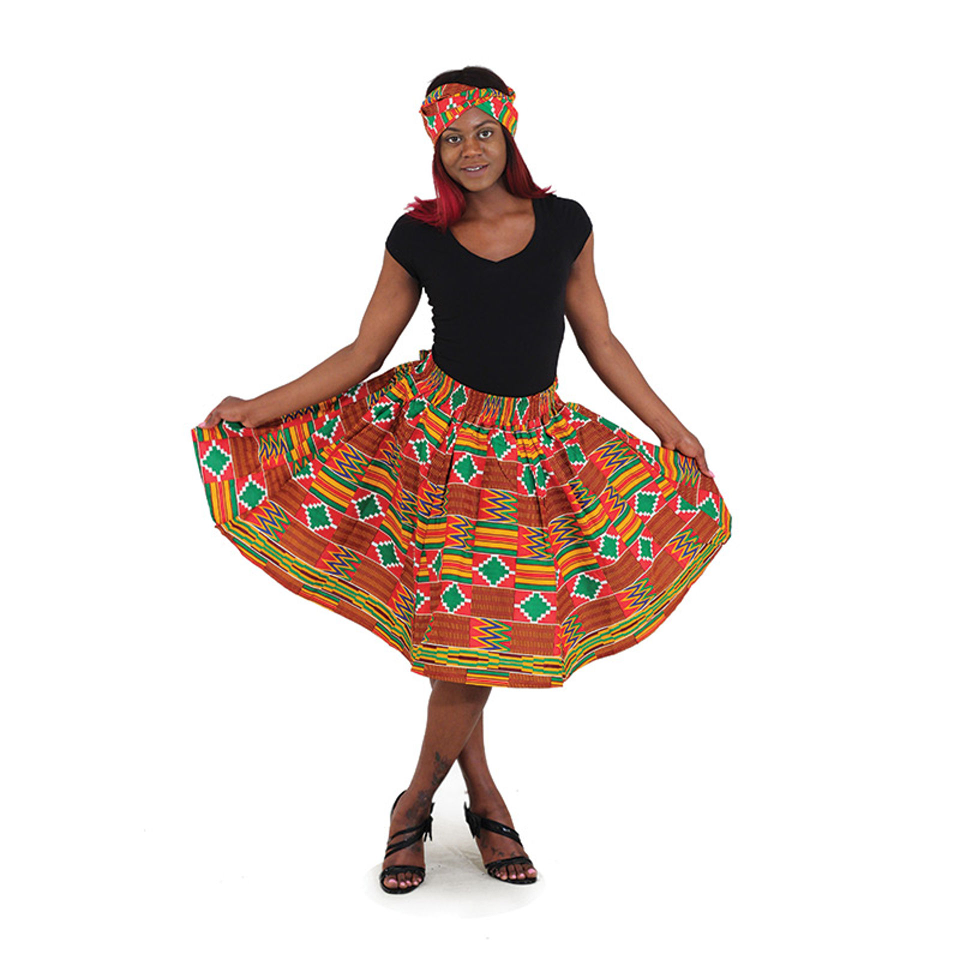 Picture of Kente Print Short Skirt: Red