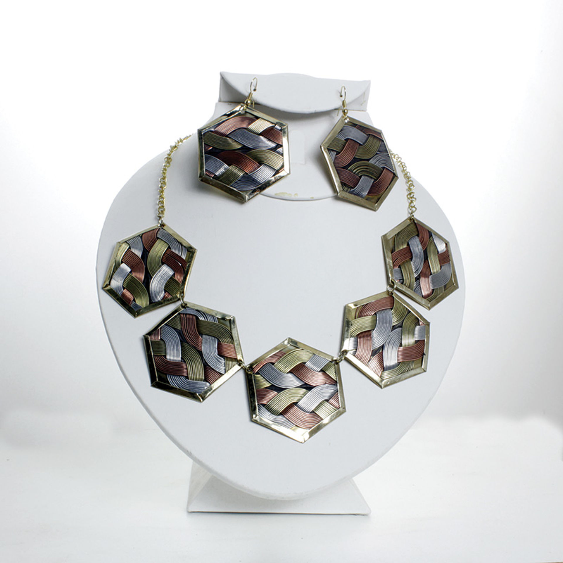 Picture of Tri-Metal Necklace Set: Hexagon