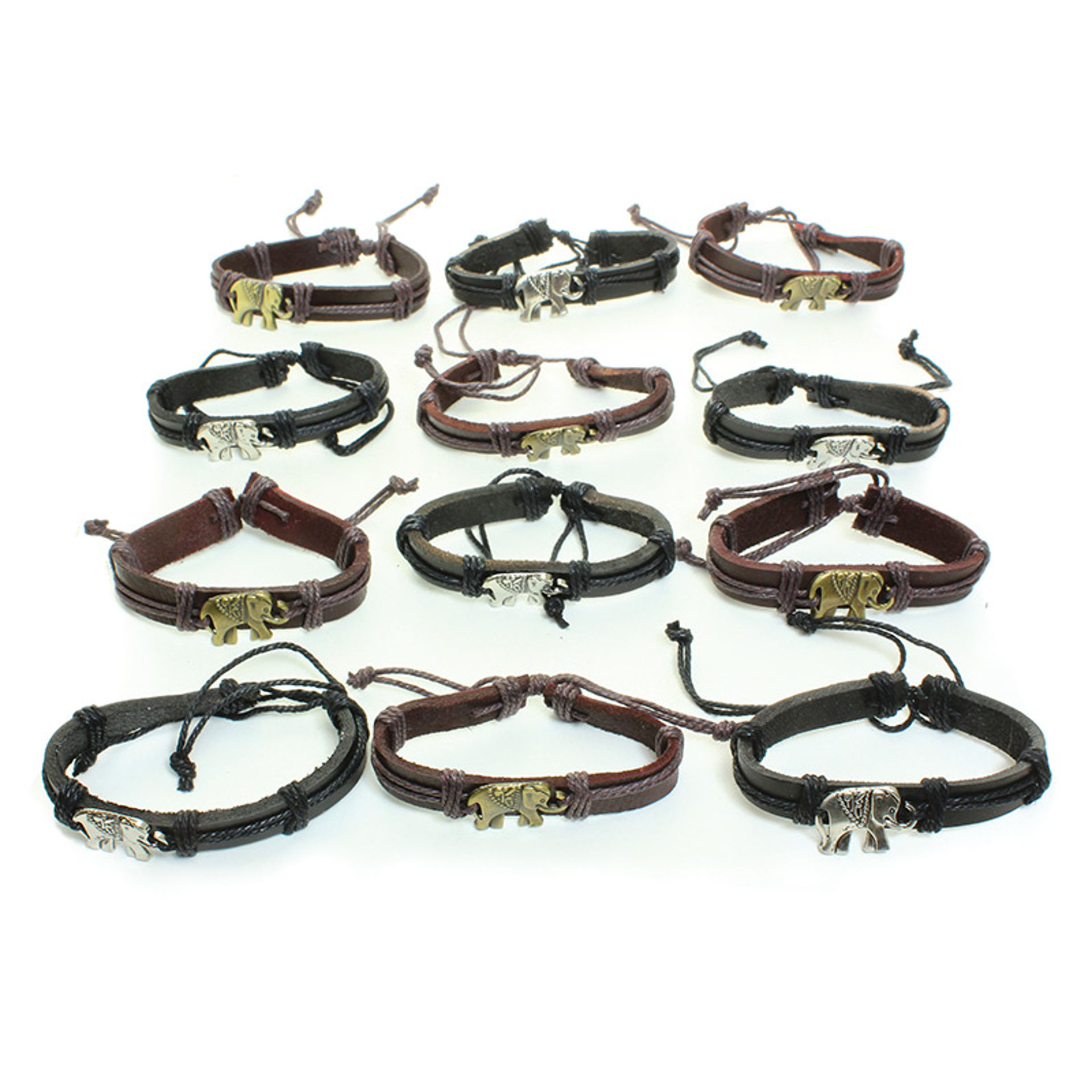 Picture of Set 12 Leather Elephant Charm Bracelets