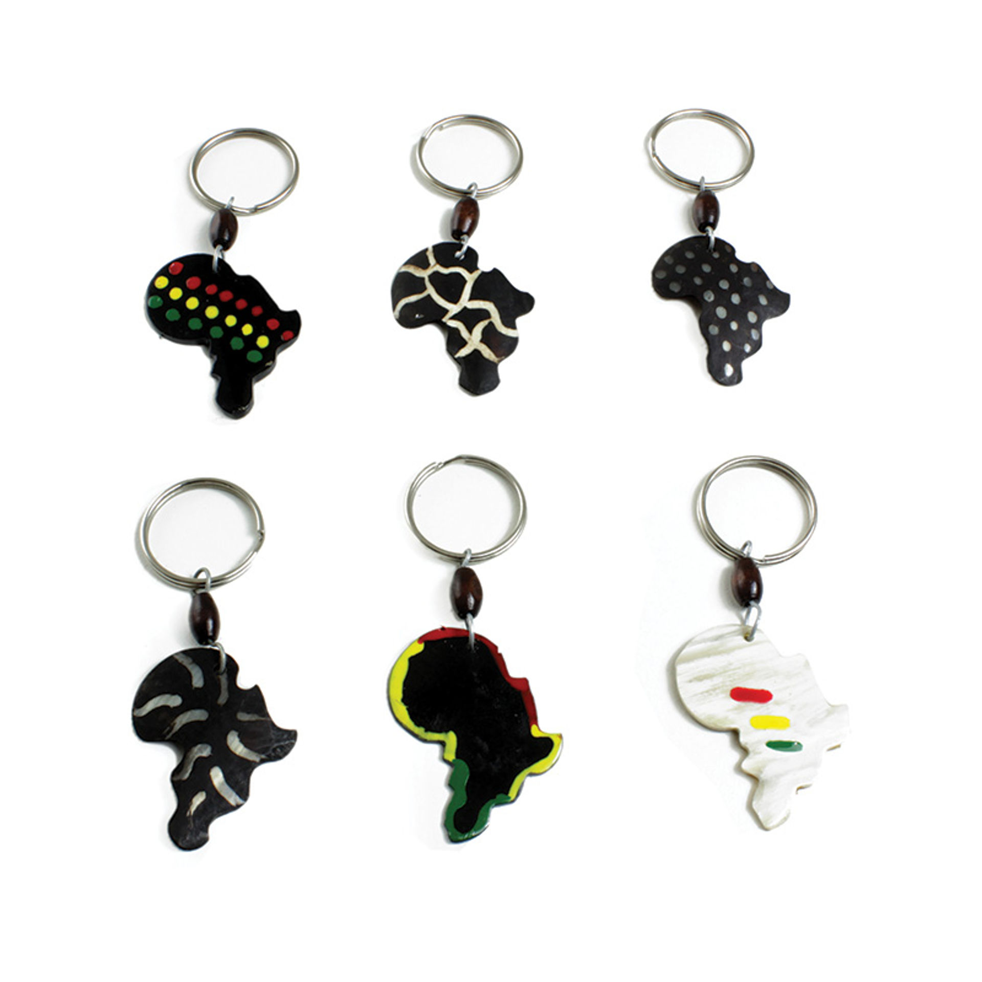 Picture of Set Of 6 Bone Africa Design Key Chains