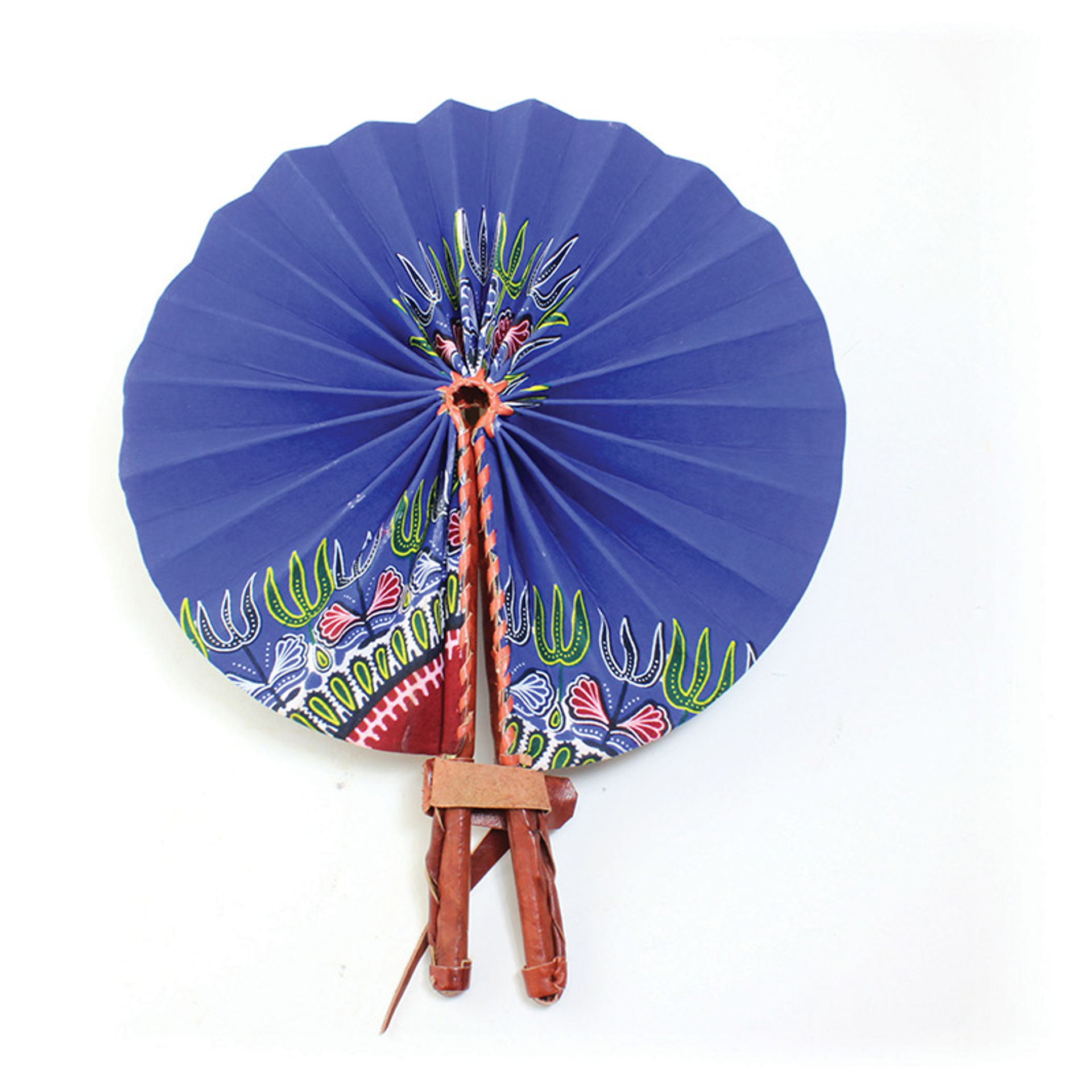 Picture of Traditional Blue Leather Folding Fan