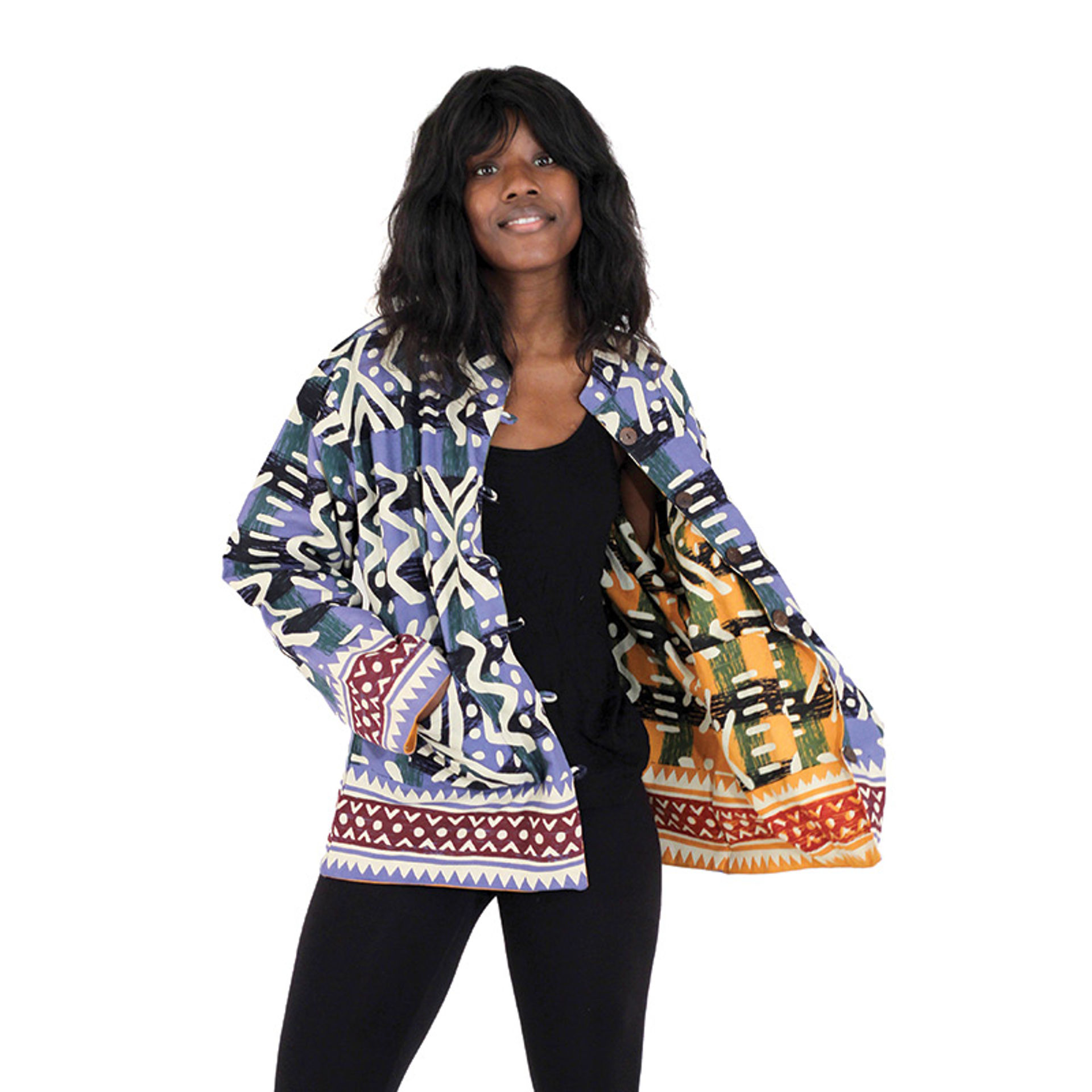Picture of Reversible Mud Print Jacket: Blue/Orange