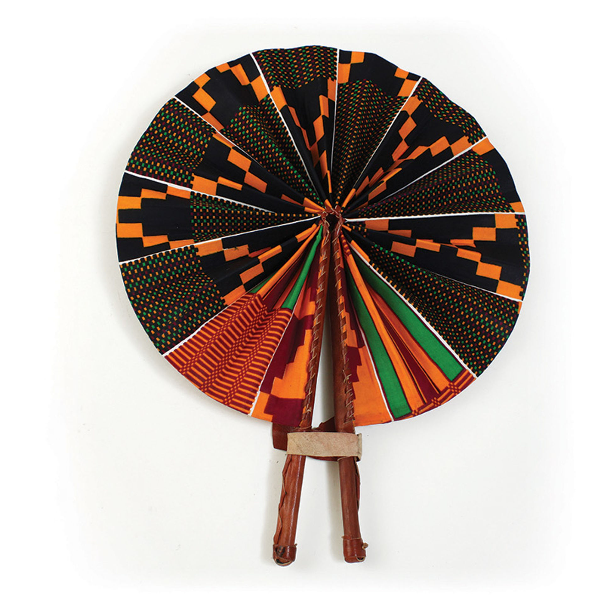 Picture of Black/Green Kente Leather Folding Fan