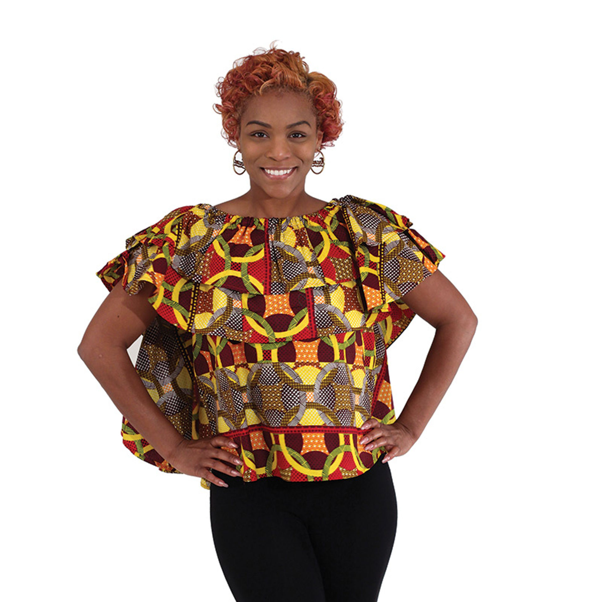 Picture of Ankara Flare Top: Yellow/Brown/Red