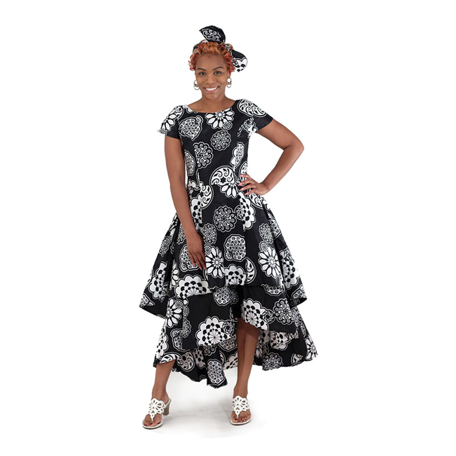 Picture of Flare Dress: Black/White