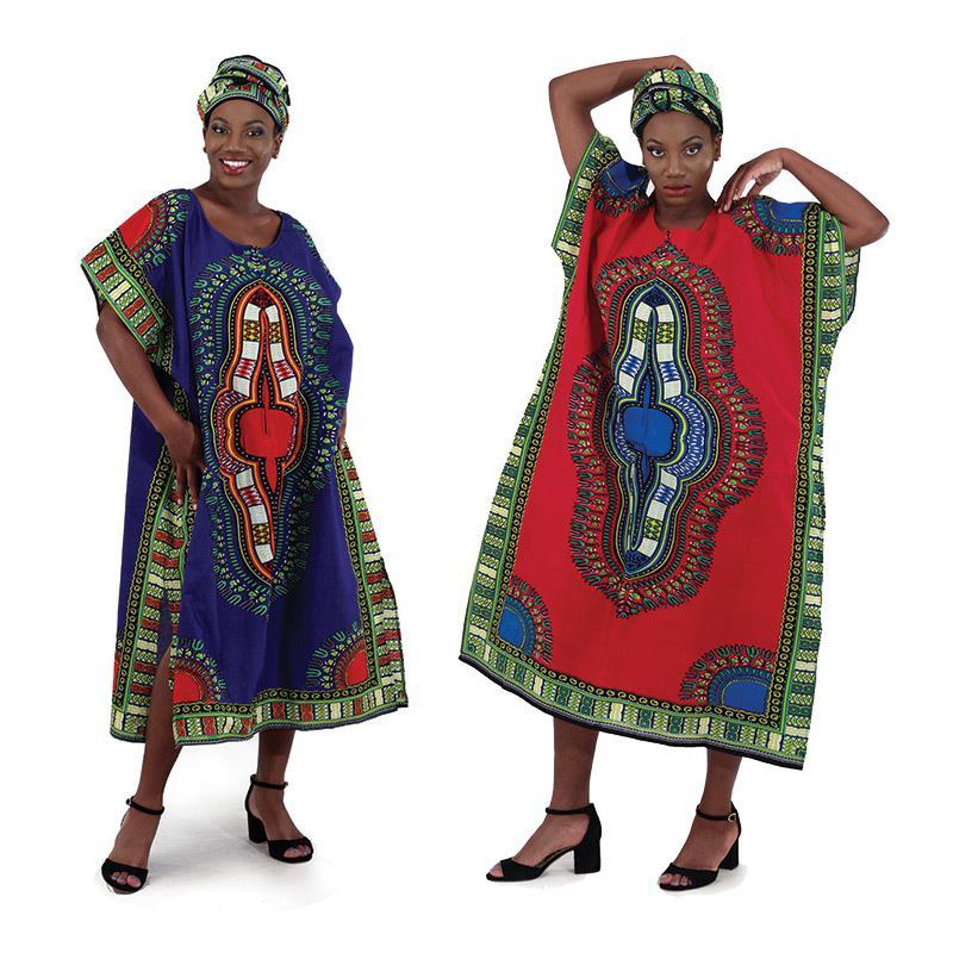 Picture of Traditional Print Zipper Kaftan