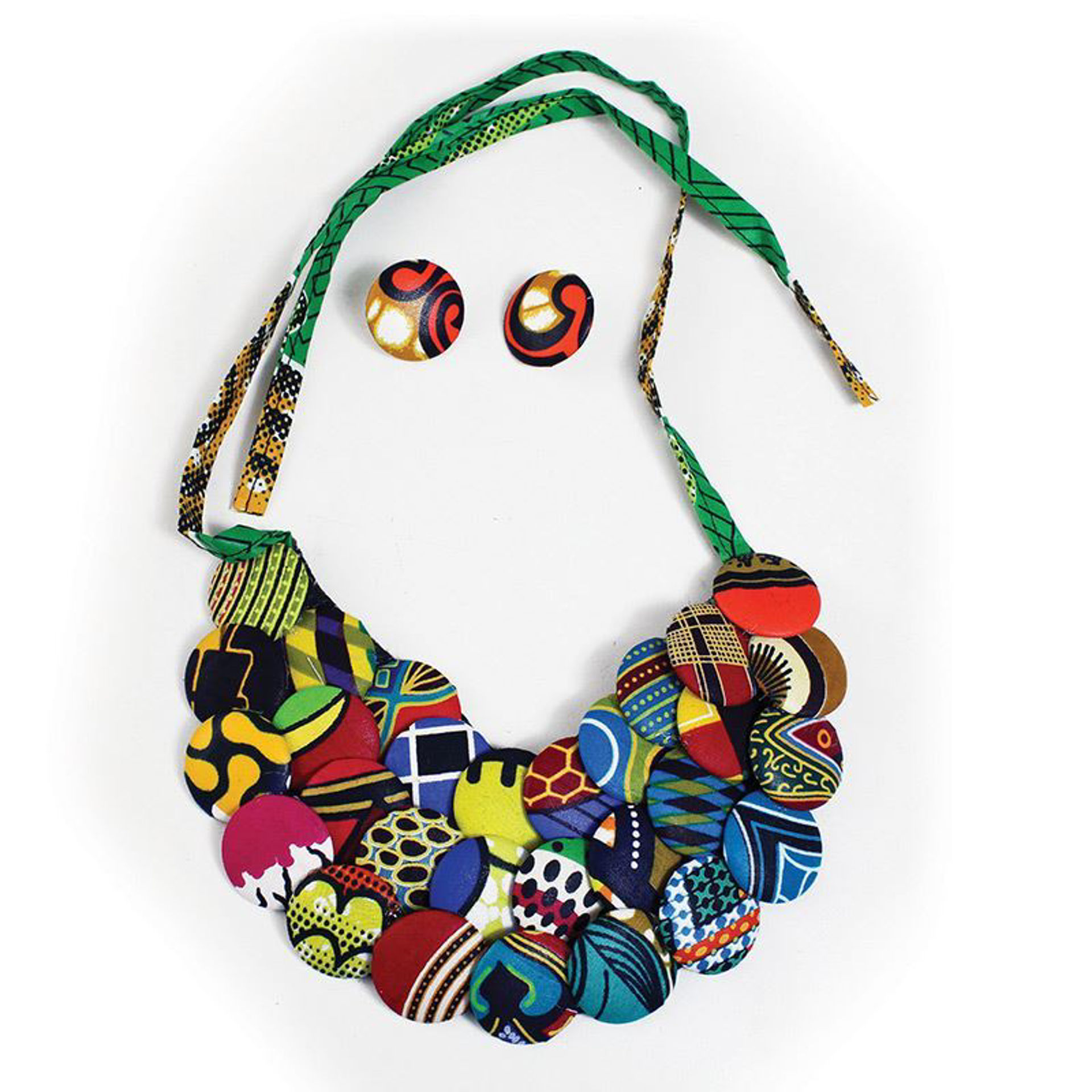Picture of Kitenge 3-Row Disc Necklace Set