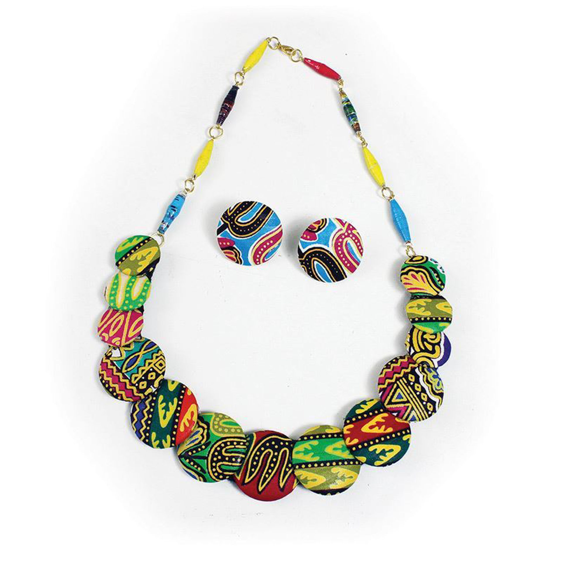 Picture of Kitenge Disc Necklace & Earrings