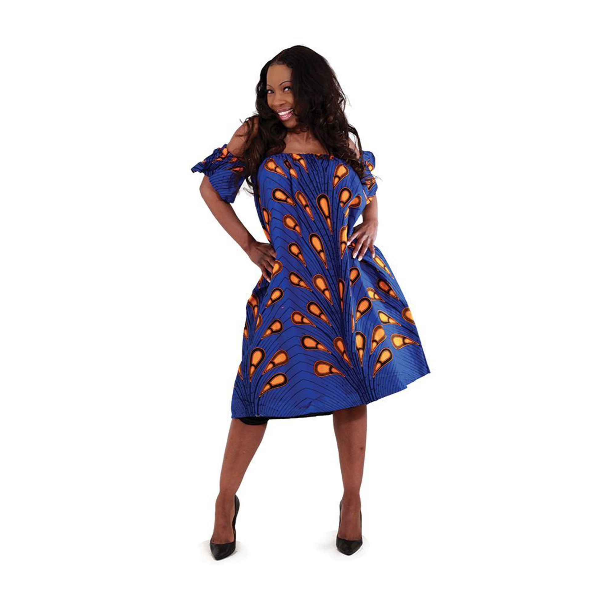 Picture of African-Made Blue Peacock Bubble Dress