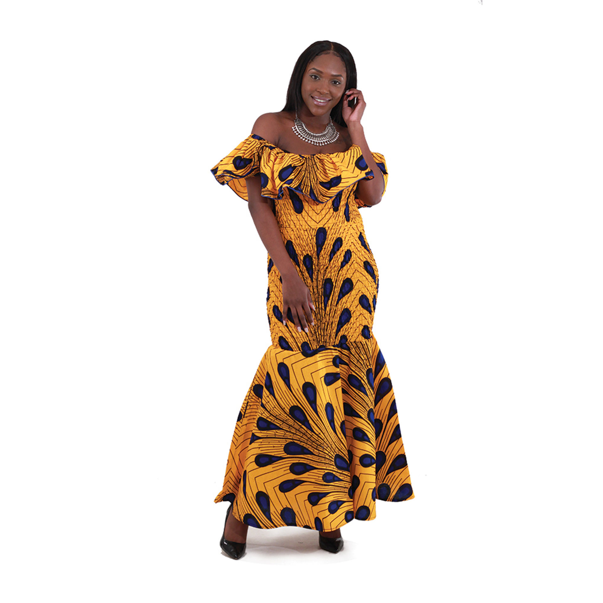 Picture of African-Made Peacock Elastic Dress