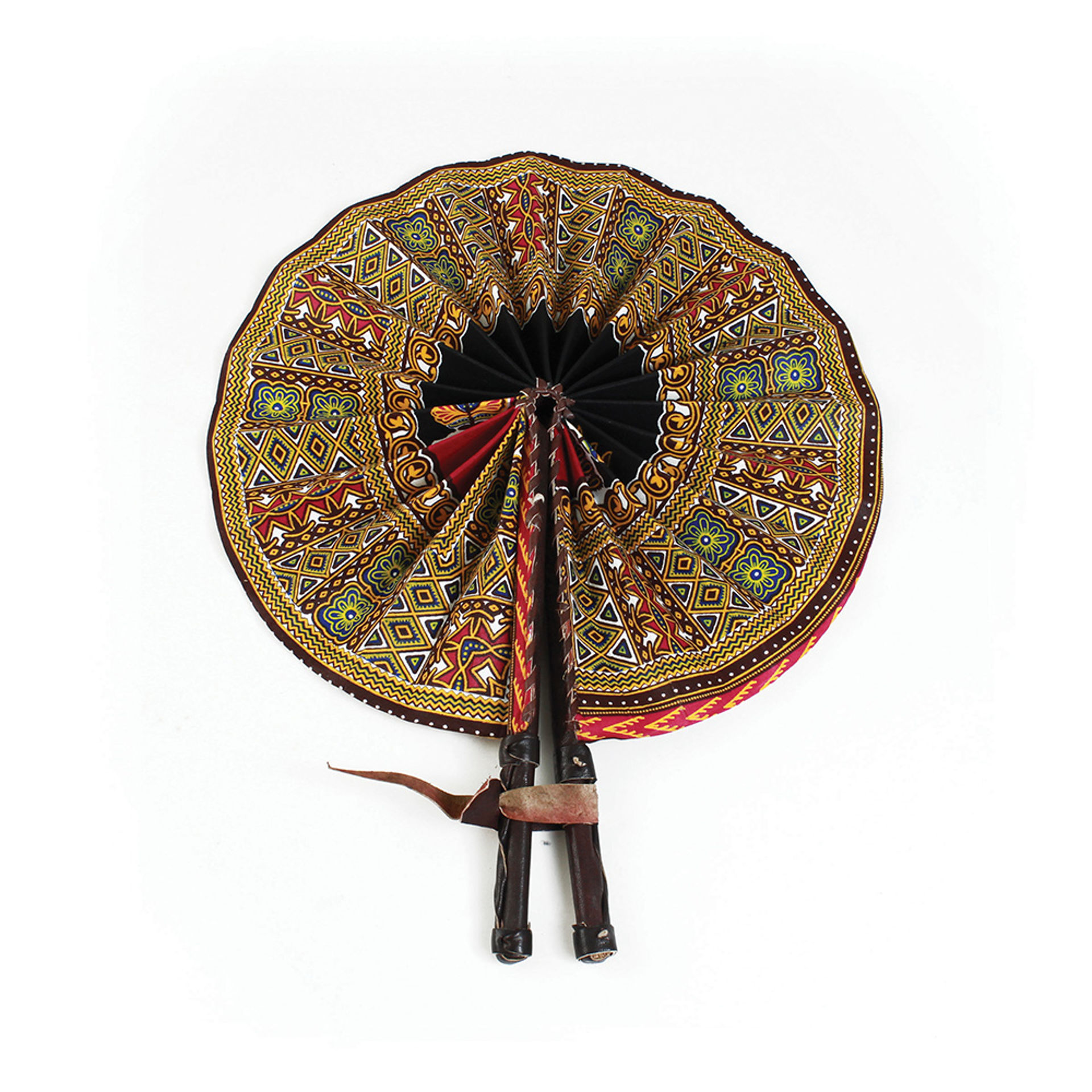 Picture of African Tribal Print Leather Folding Fan