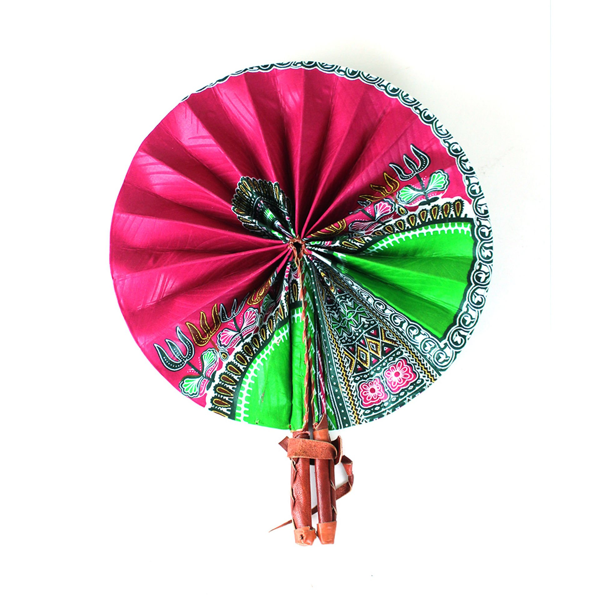 Picture of Traditional Fuchsia Leather Folding Fan