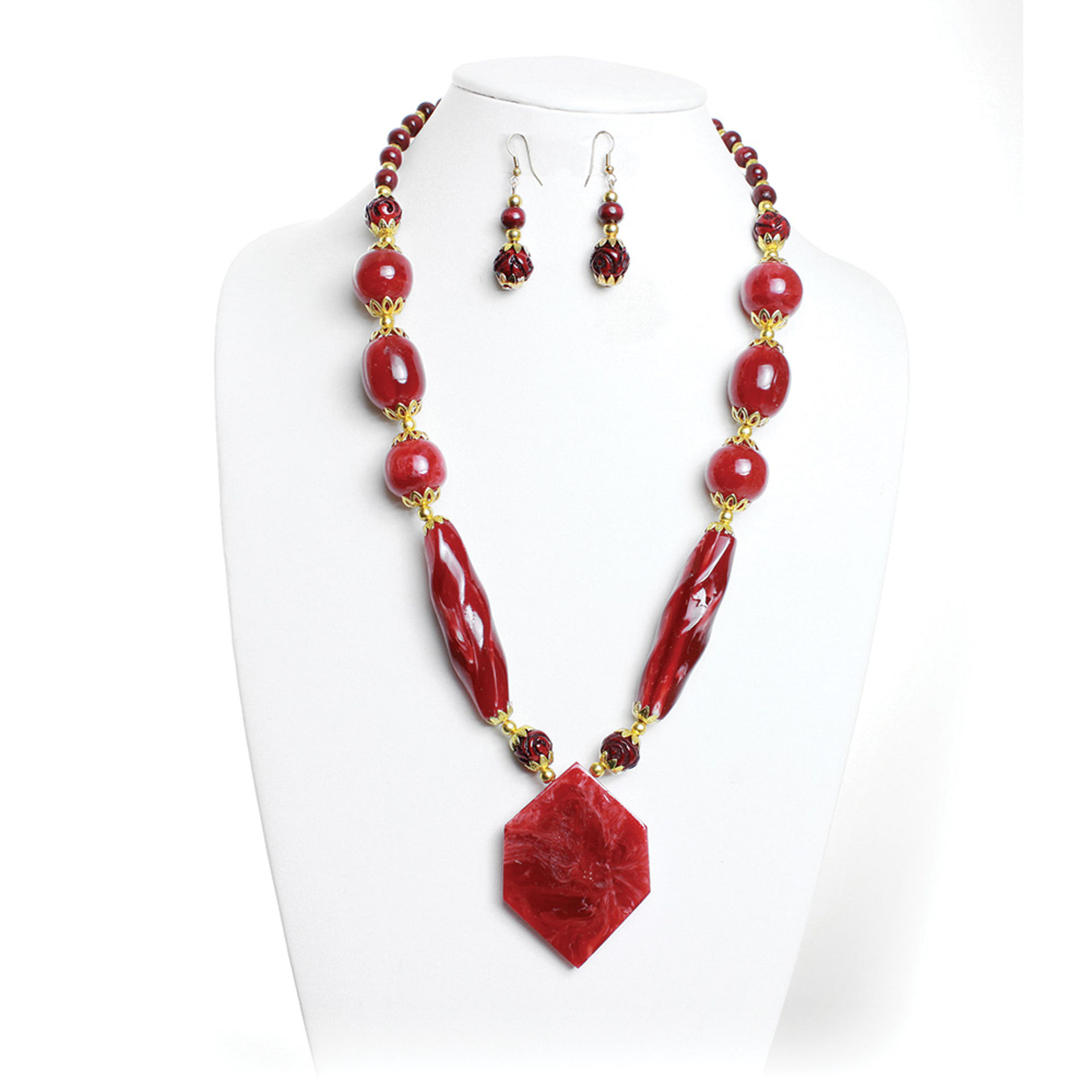 Picture of Ruby Red Pendant Necklace & Earrings