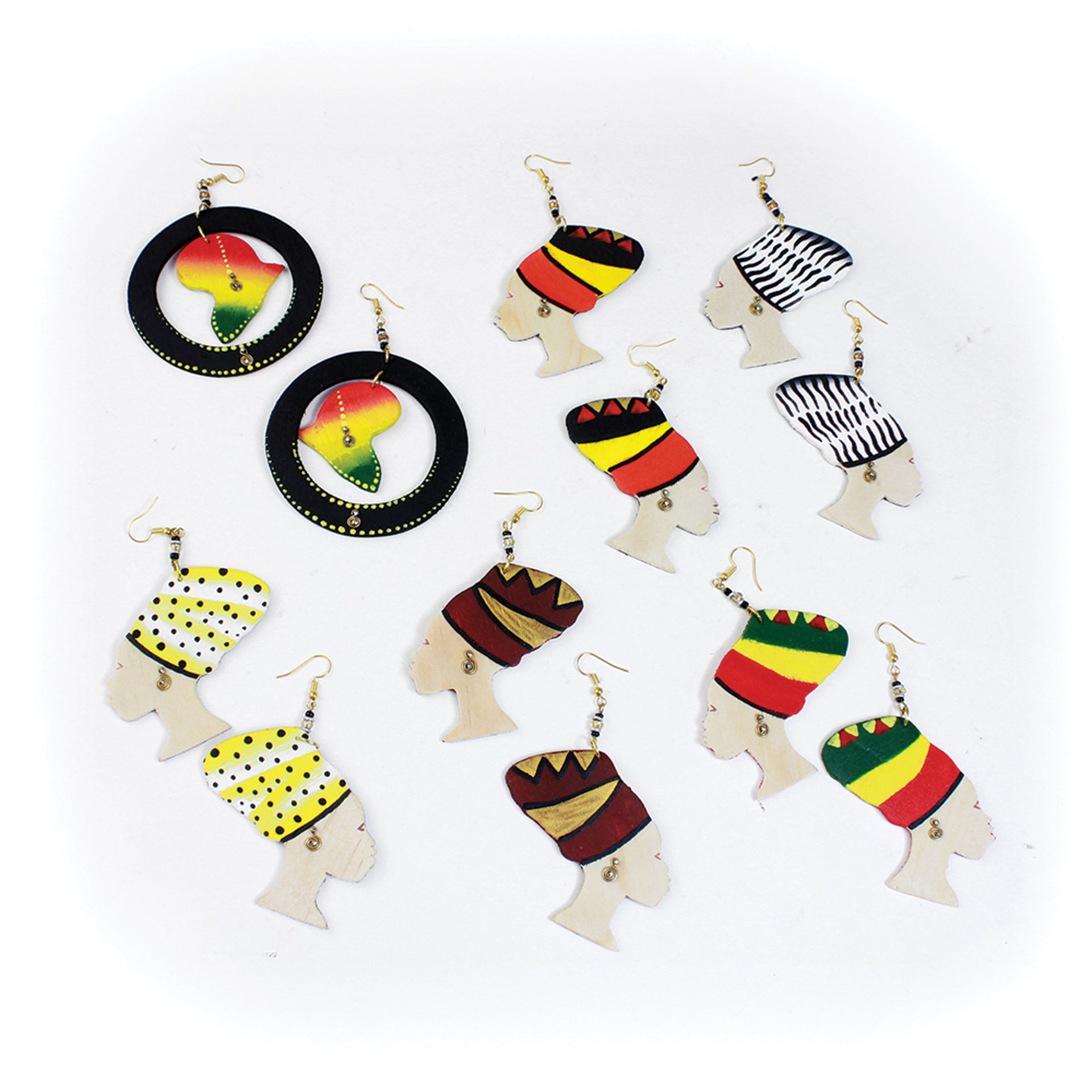 Picture of Set Of 6 Mama Africa Wood Earrings