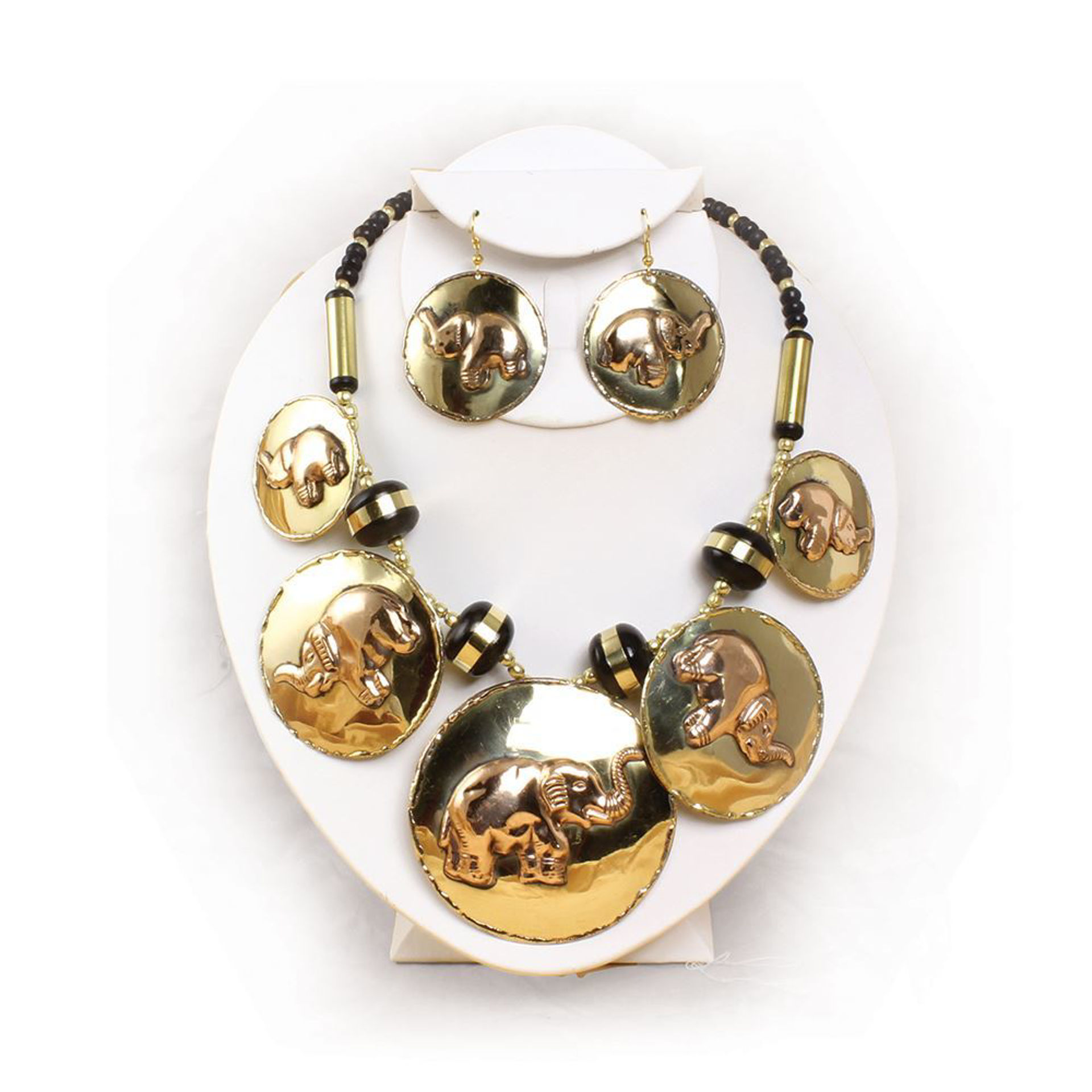 Picture of Brass & Copper Elephant Jewelry Set