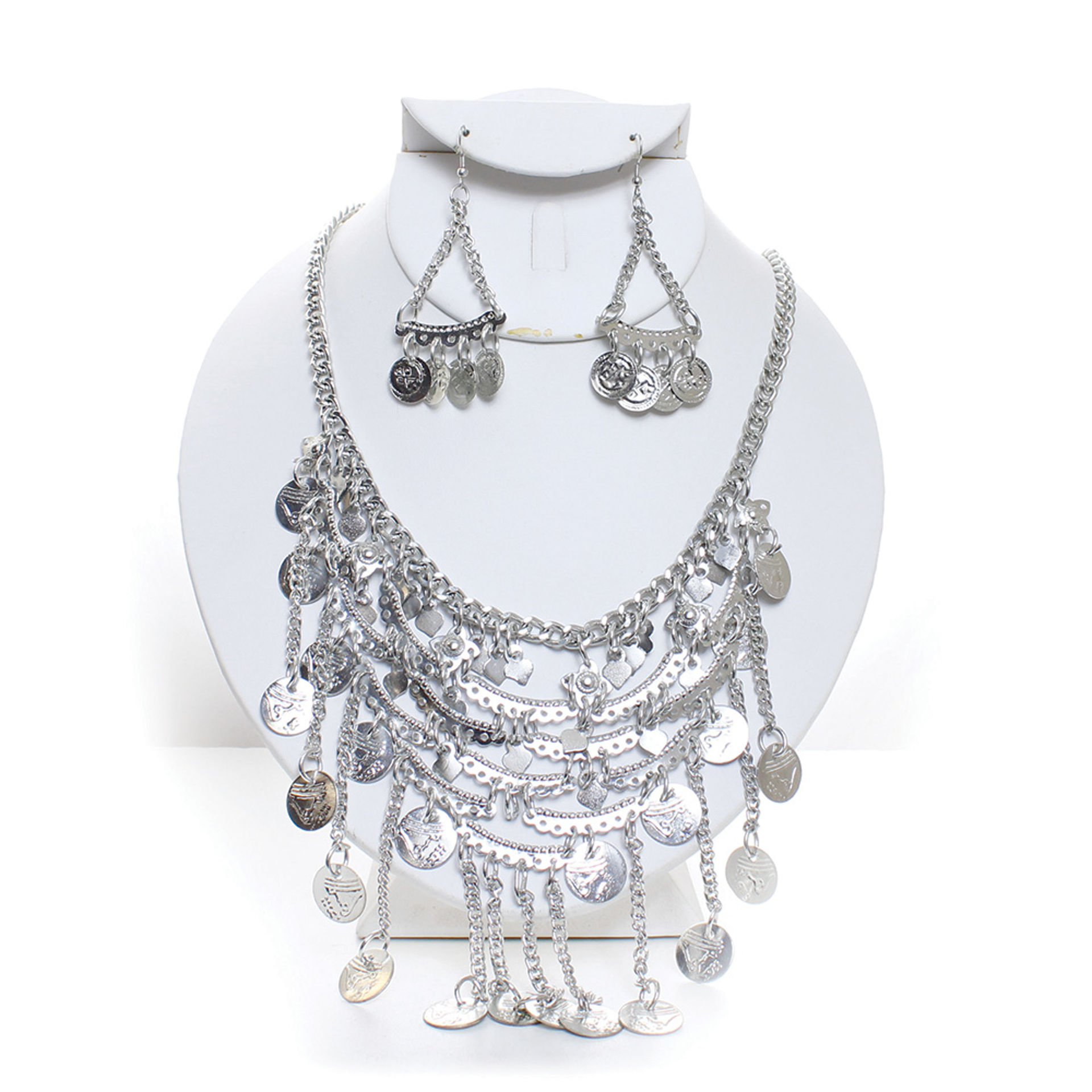 Picture of Silver Medallion Necklace & Earrings