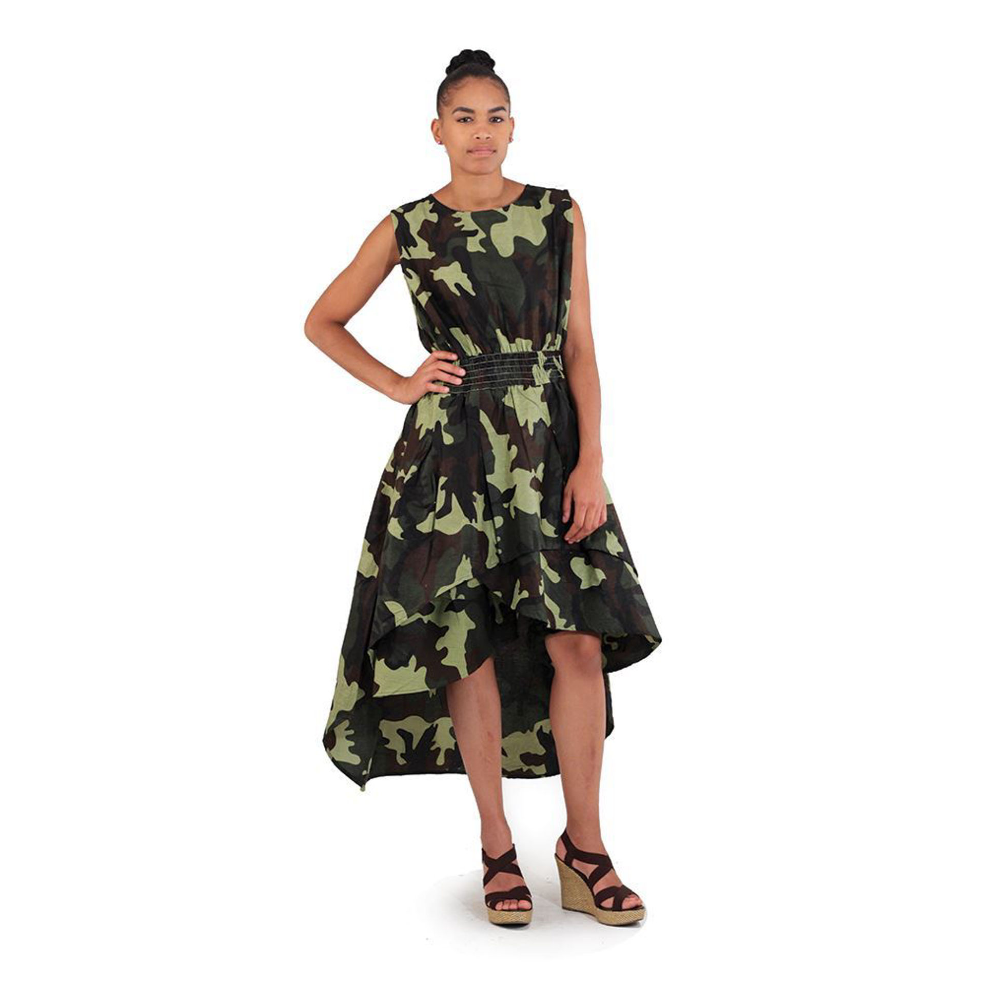 Picture of Hi-Lo Tier Dress: Green Camo