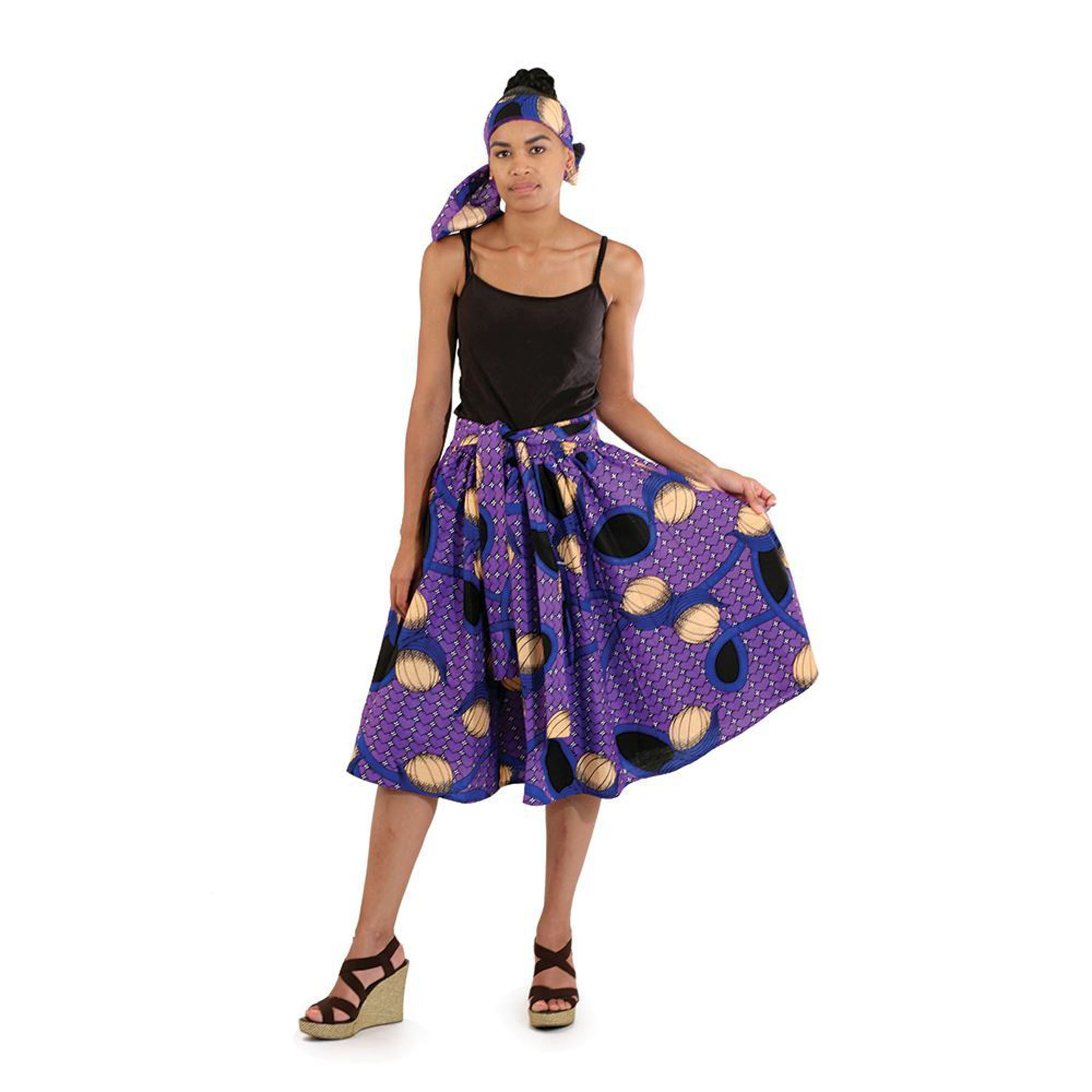 Picture of African Print Elastic Skirt: Purple