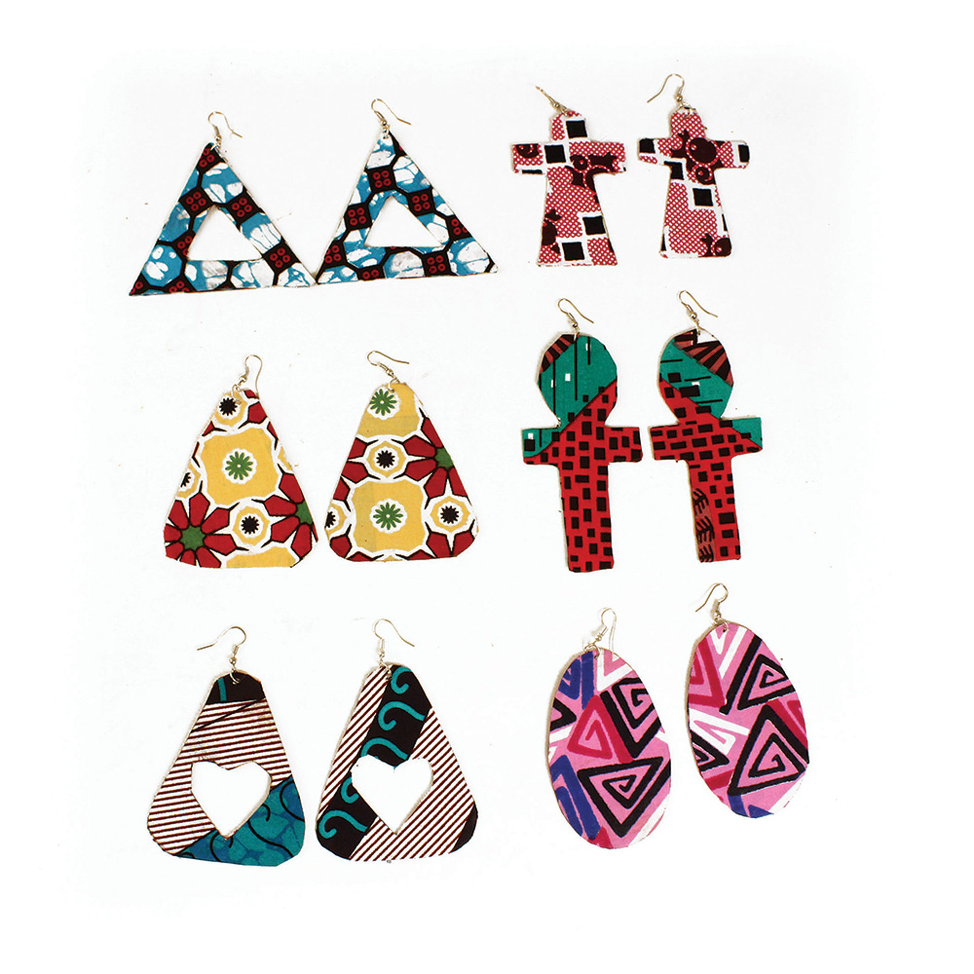Picture of Set Of 6 African Print Earrings