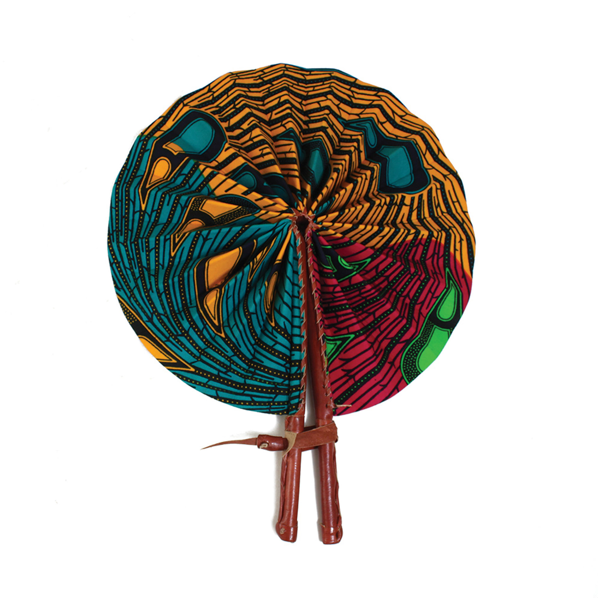 Picture of Multi-Color Peacock Leather Folding Fan