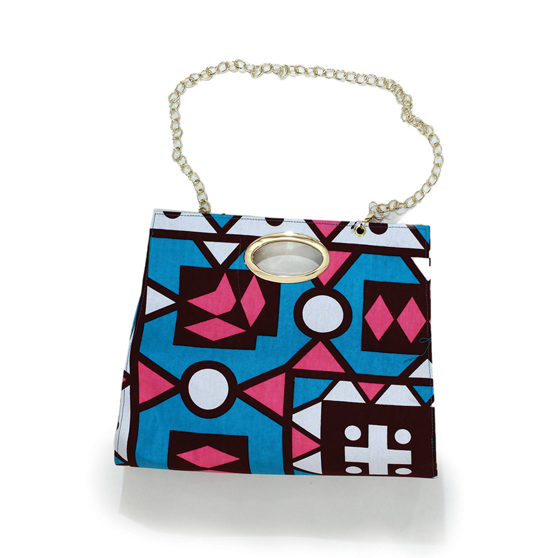 Picture of African Print Hand Bag: Turquoise/Pink