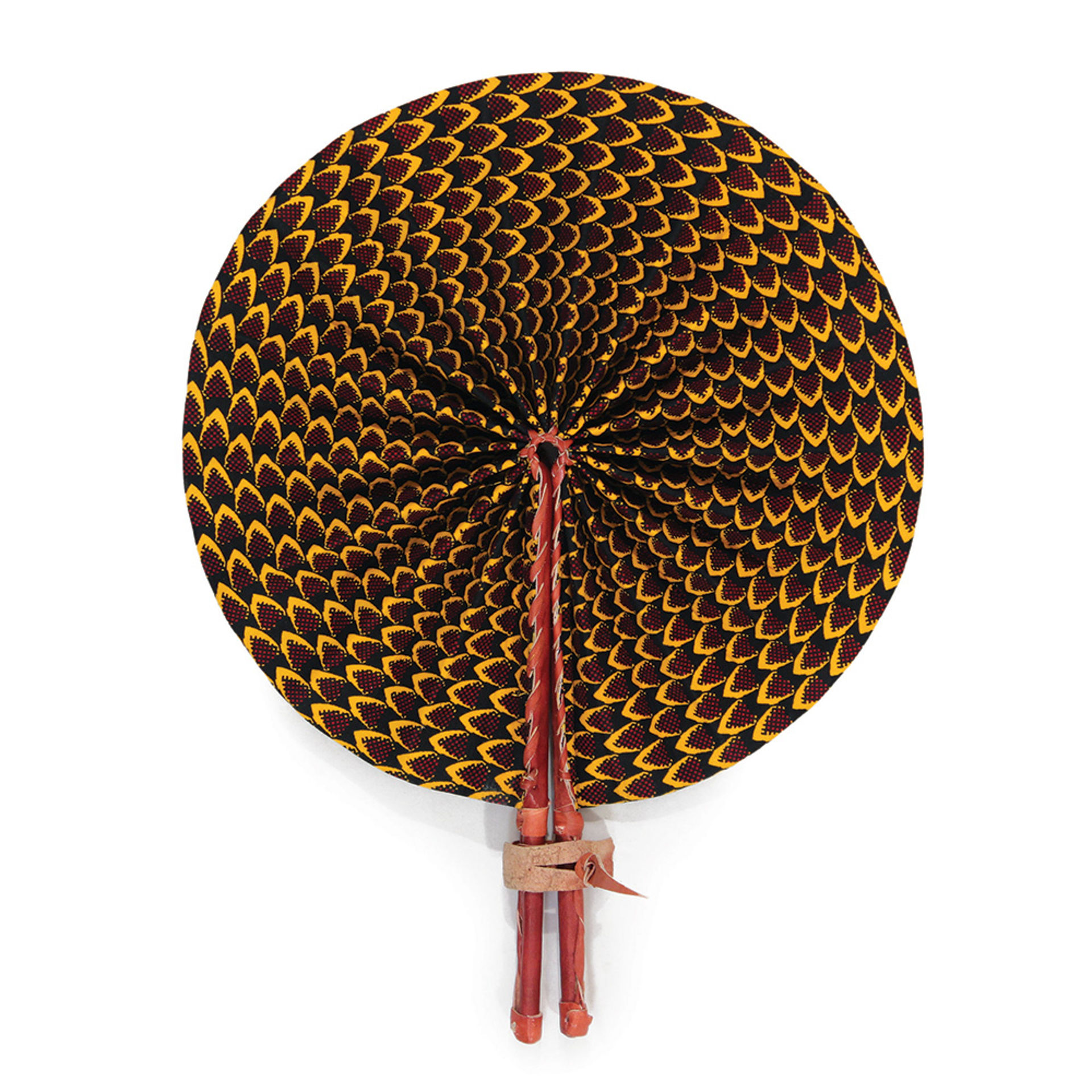 Picture of Black Feather Print Leather Folding Fan