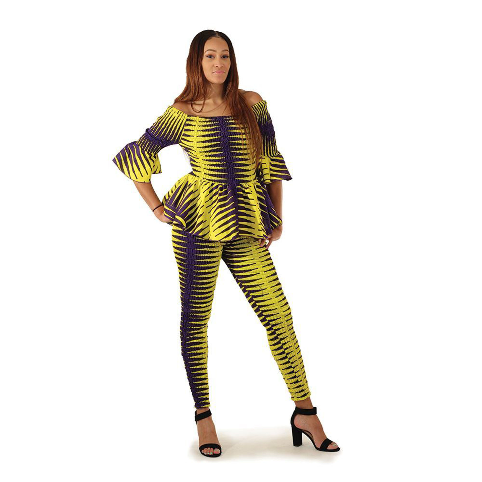 Picture of Purple/Yellow Stretch Top & Pants Set