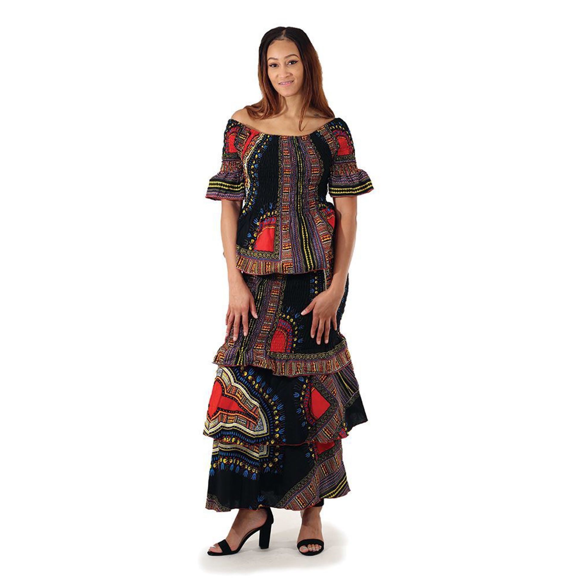 Picture of Black Trad Print Stretch Skirt Set
