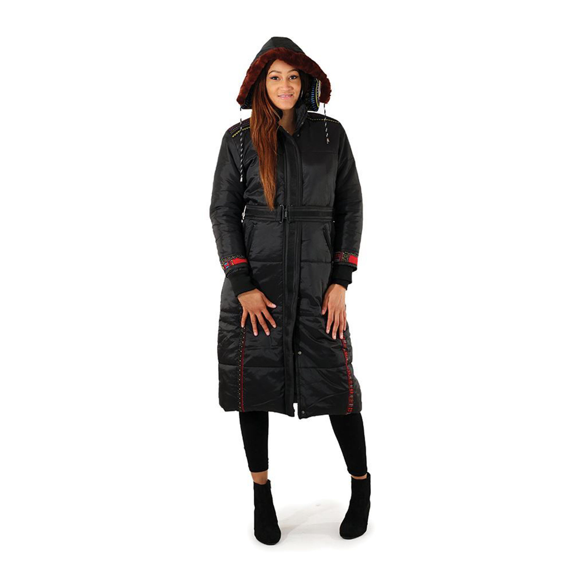 Picture of Black/Red Trad Print Long Puff Coat
