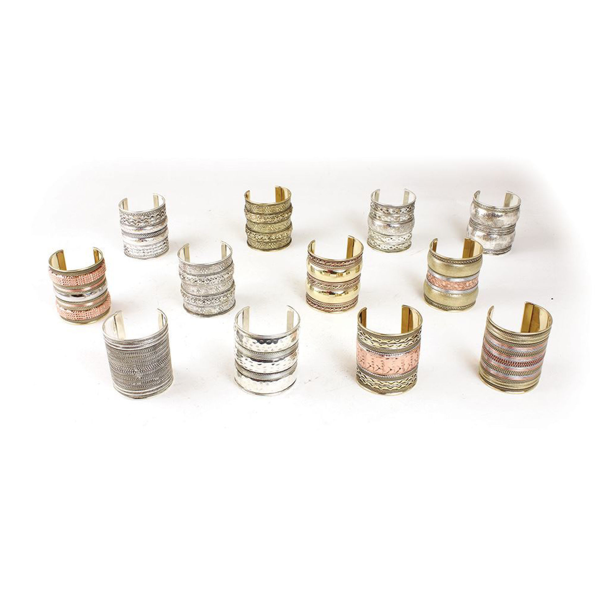 """Picture of Set Of 12 Gold & Silver Cuffs - 3"""""""