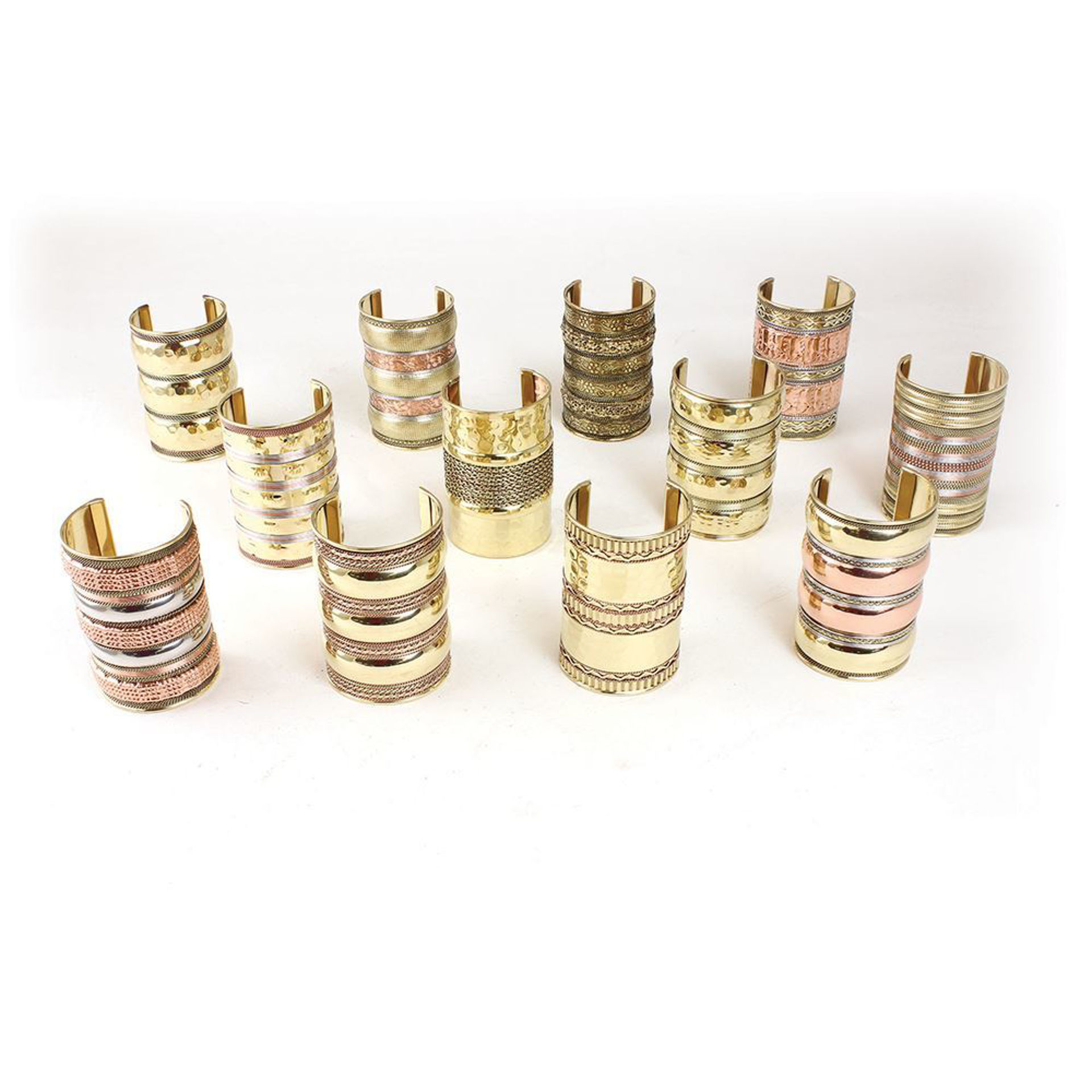 """Picture of Set Of 12 Gold Cuffs - 4"""""""