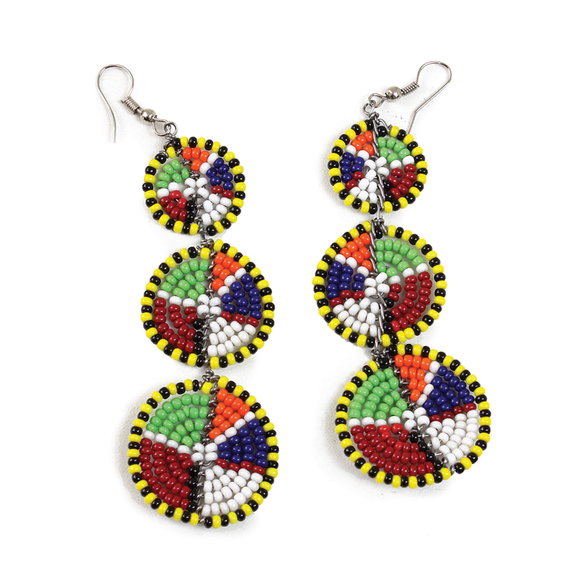 Picture of Maasai 3-Circle Earrings: Yel+Blk Multi