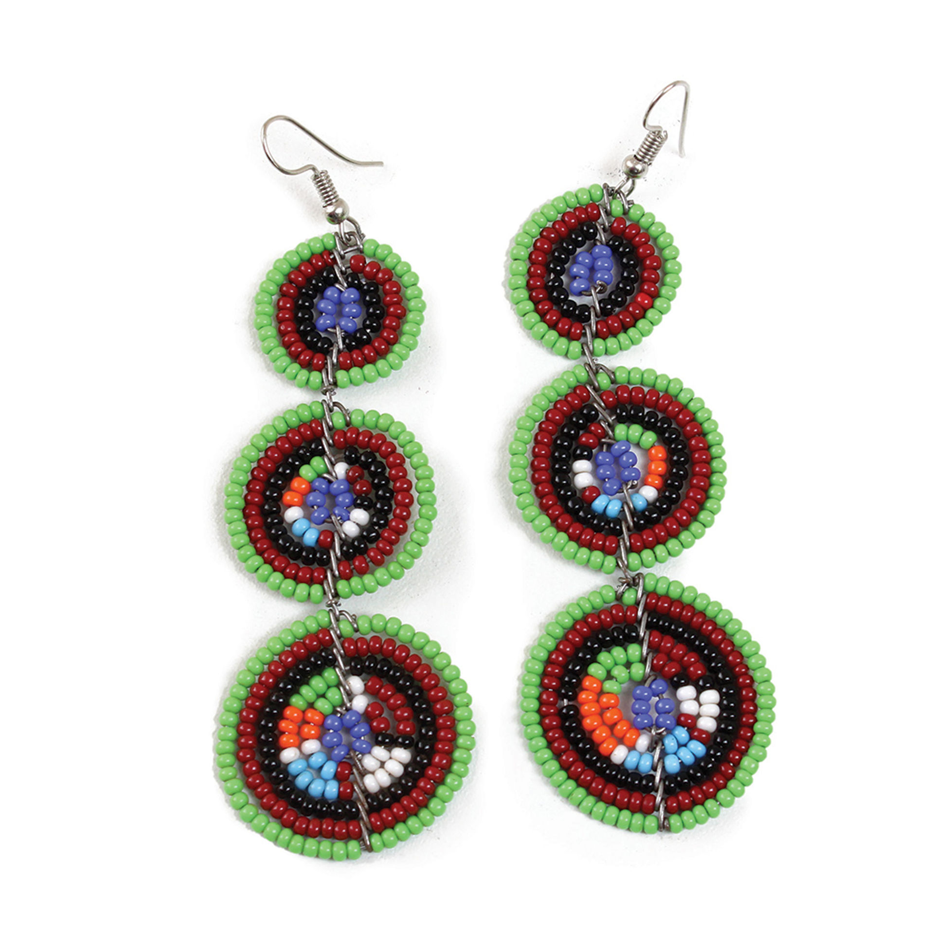 Picture of Maasai 3-Circle Earrings: Green