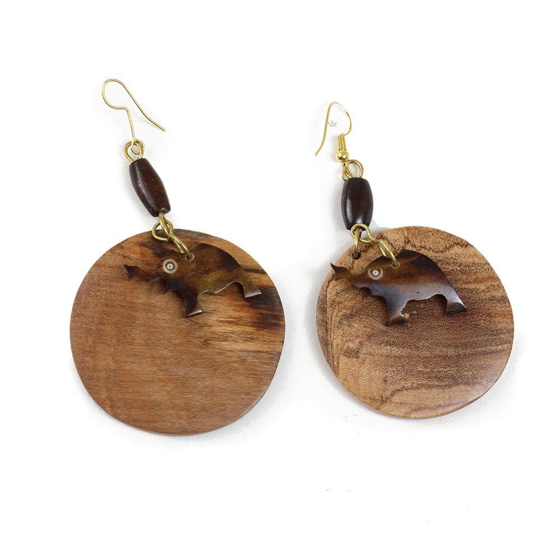 Picture of African Elephant Wood & Bone Earrings