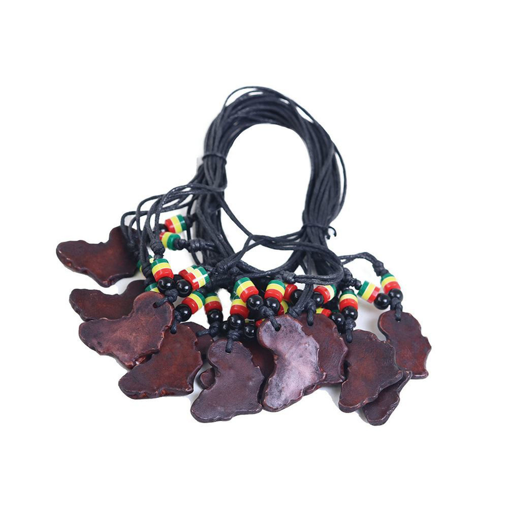 Picture of Set Of 12 Africa Map Clay Necklaces