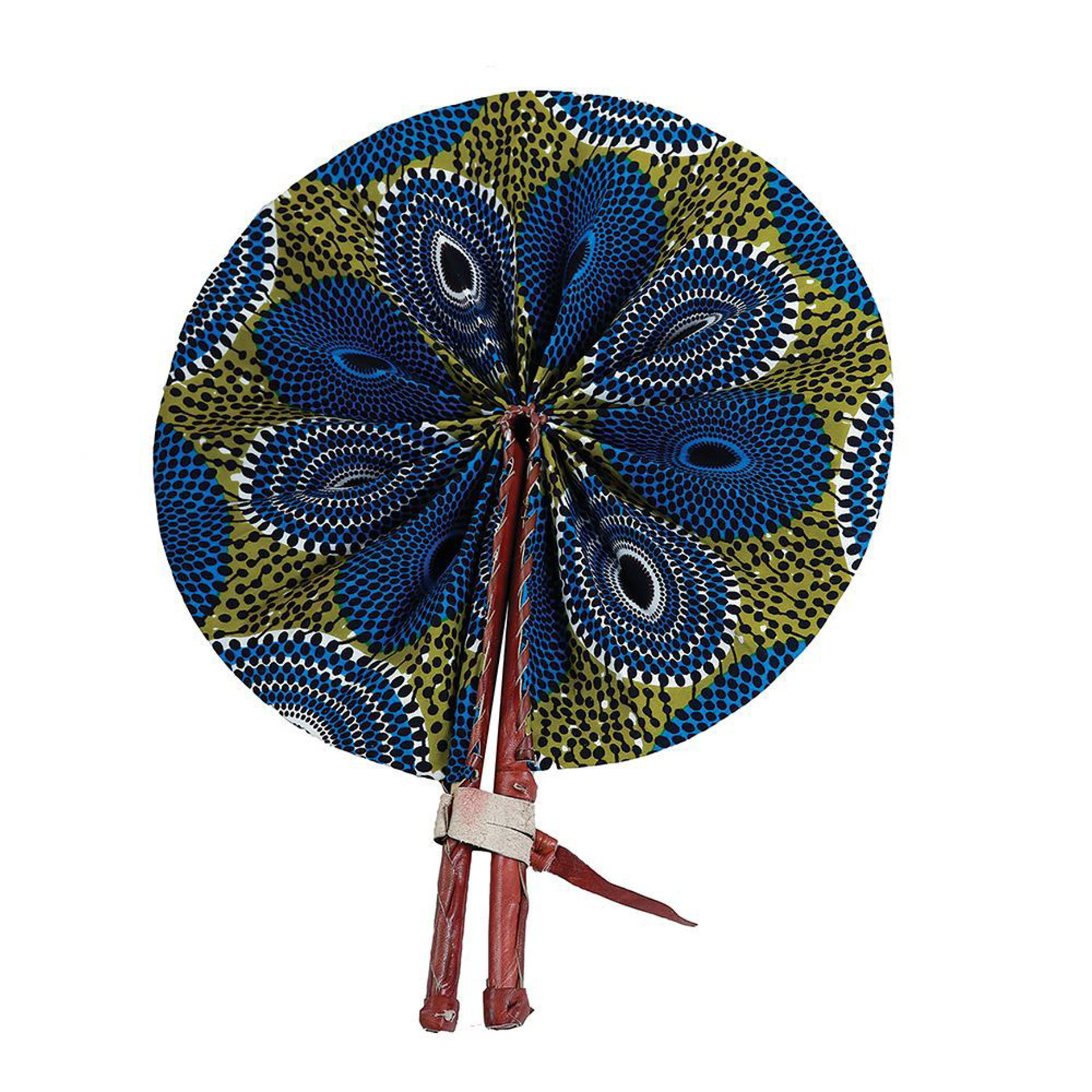 Picture of Blue/Olive Circle Print Folding Fan