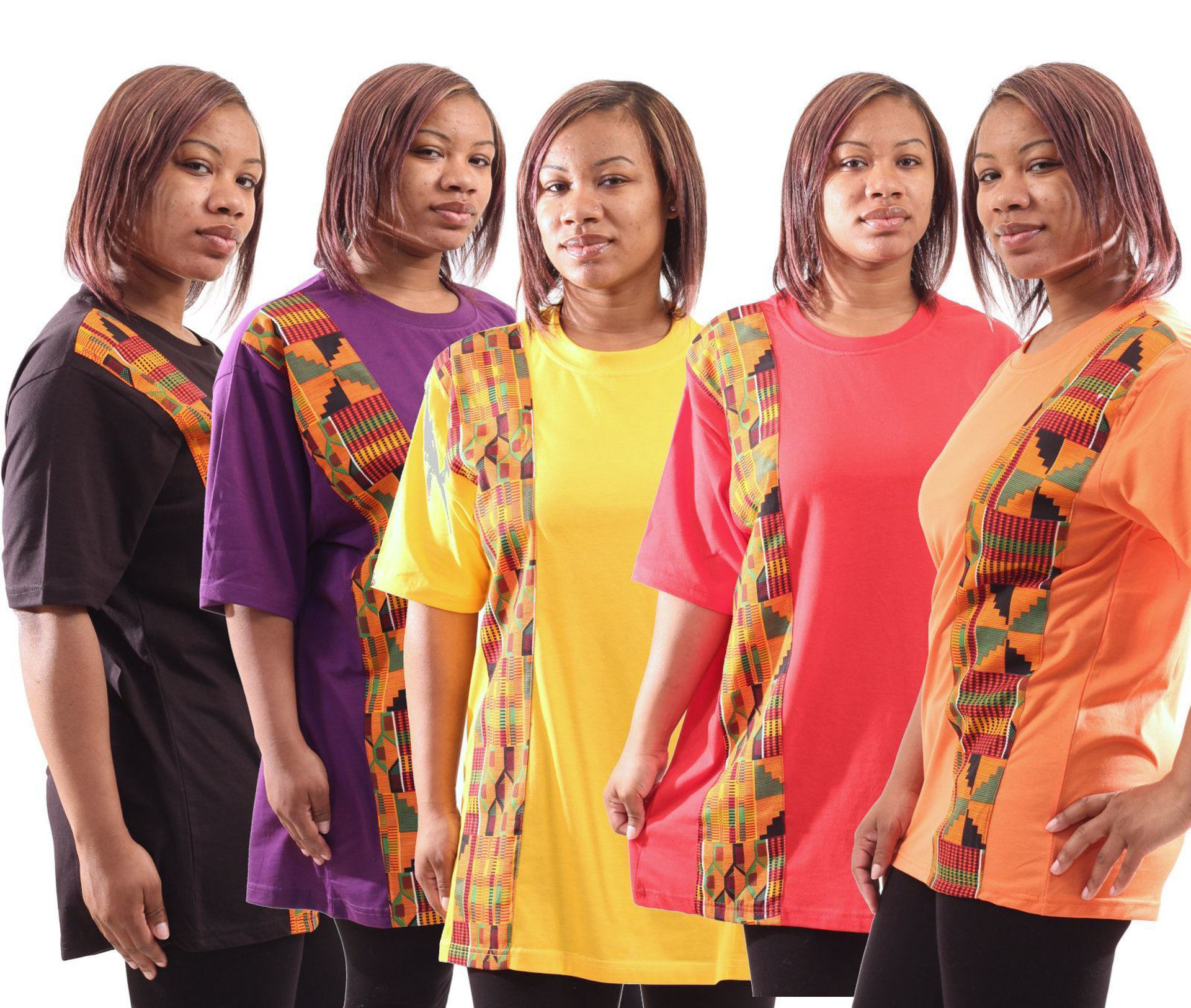 Picture of Set Of 5 Kente Strip T-Shirts - ASSORTED
