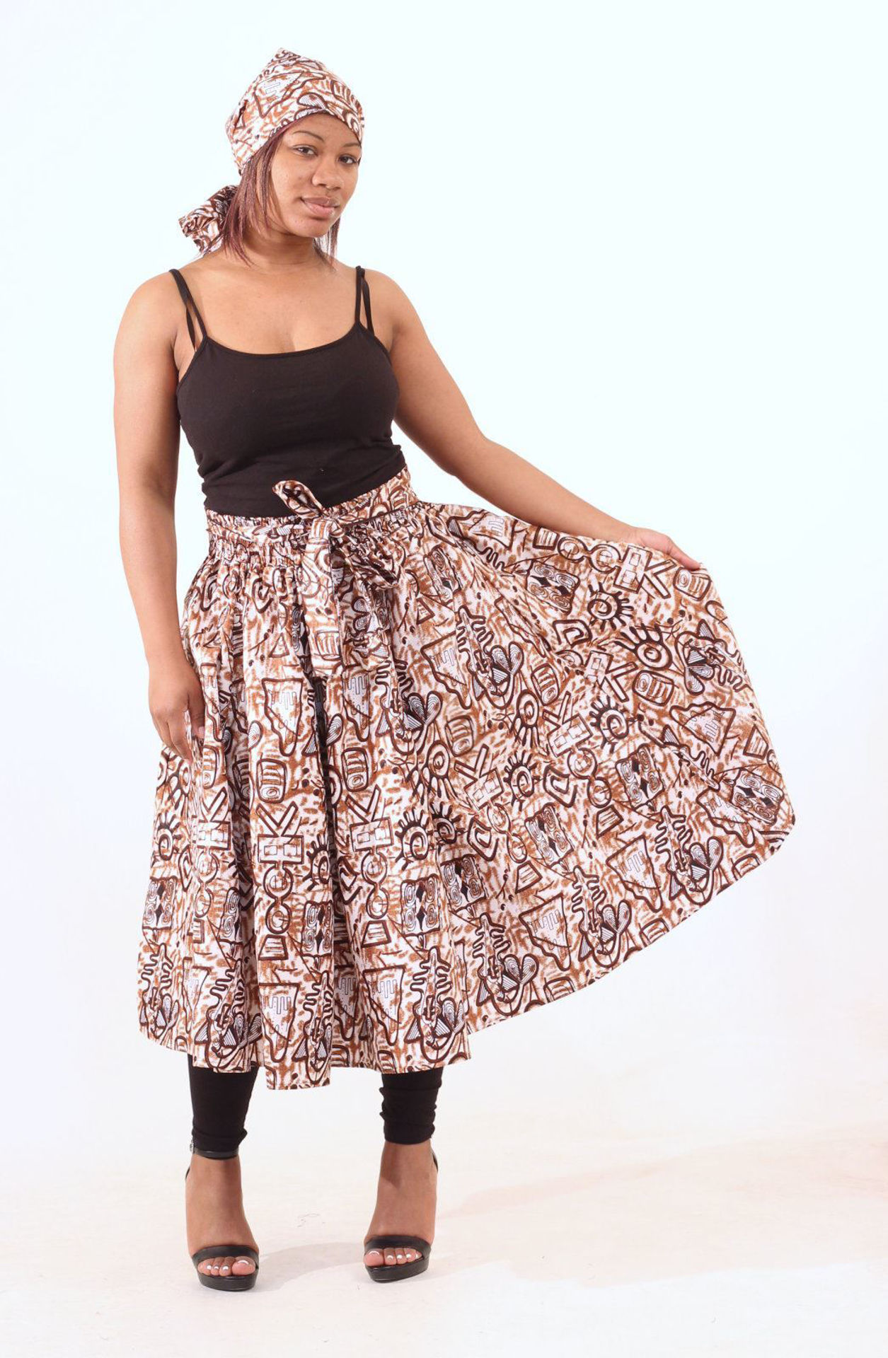 Picture of Brown Adinkra Print Skirt