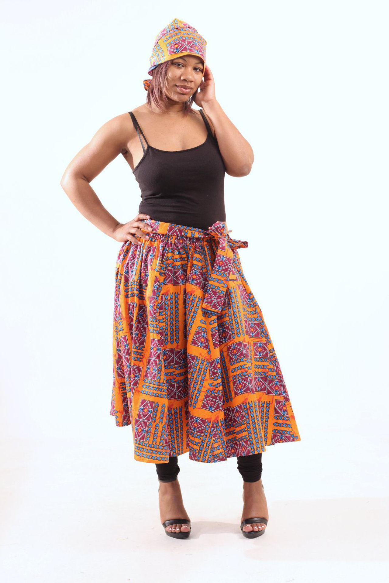 Picture of Orange African Print Skirt