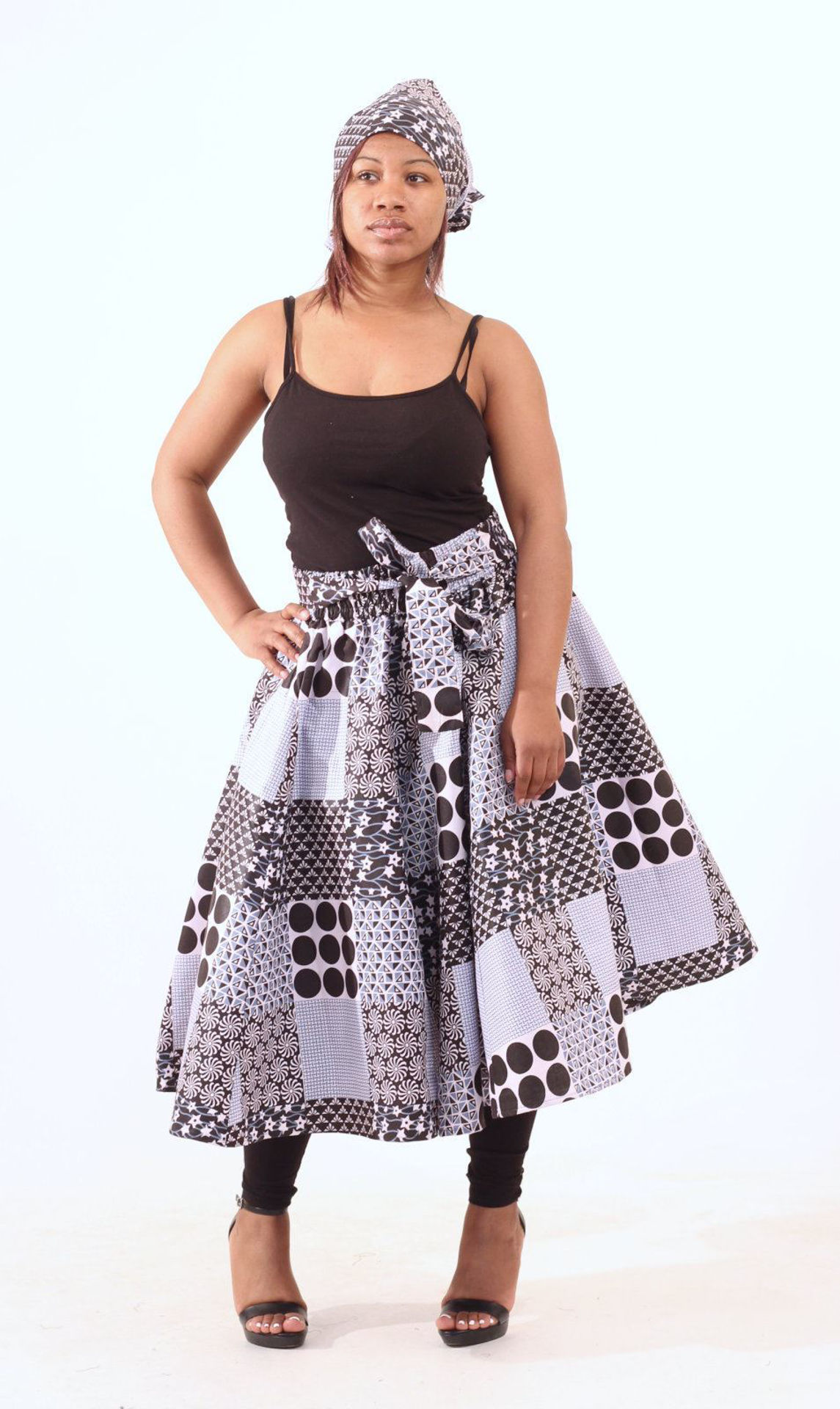 Picture of Black & Blue Patchwork Print Skirt