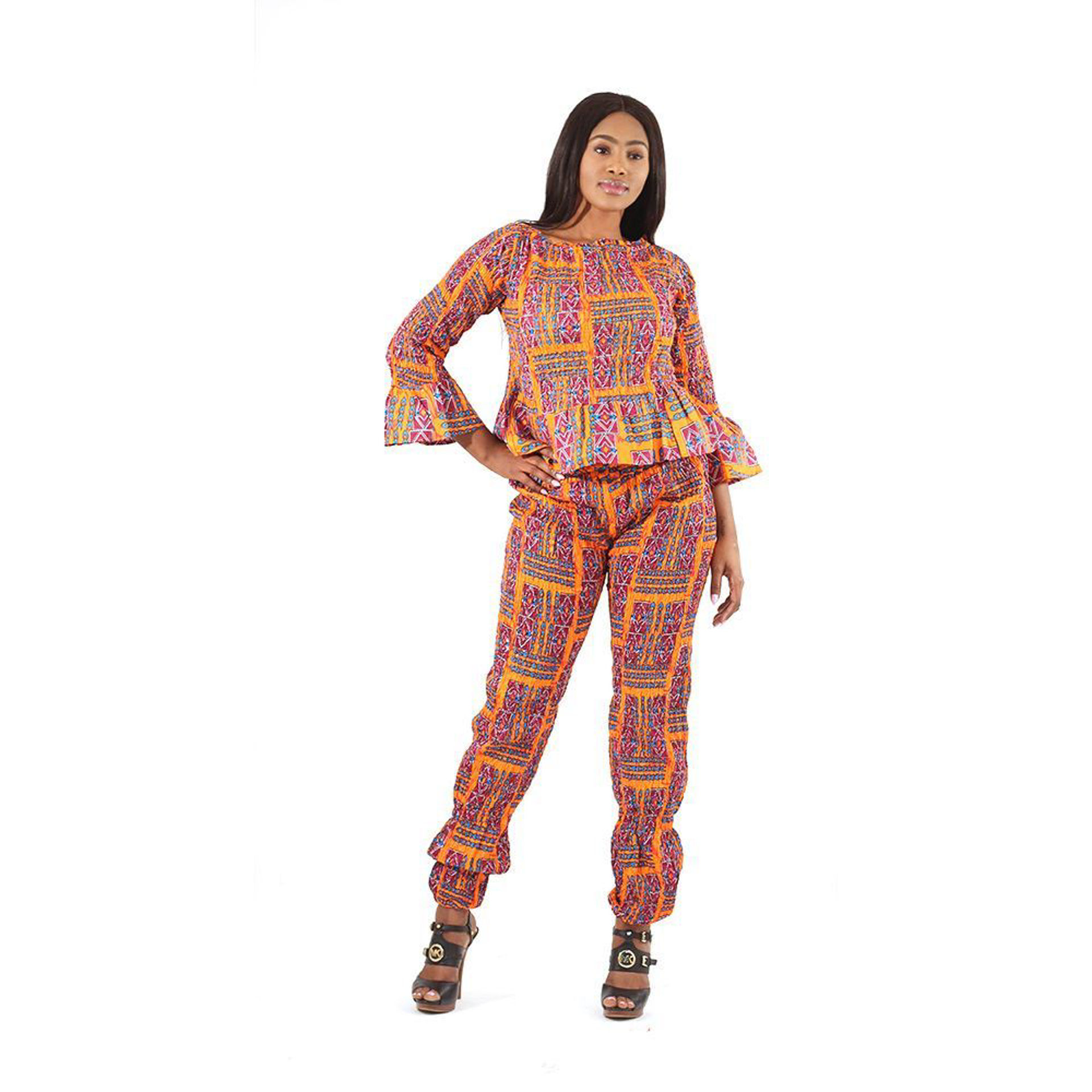 Picture of Orange African Print Pant Set