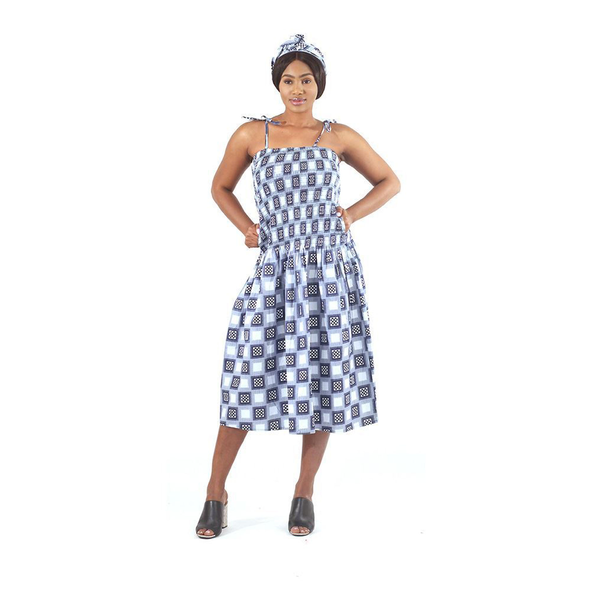 Picture of Blue Checkered Print Dress