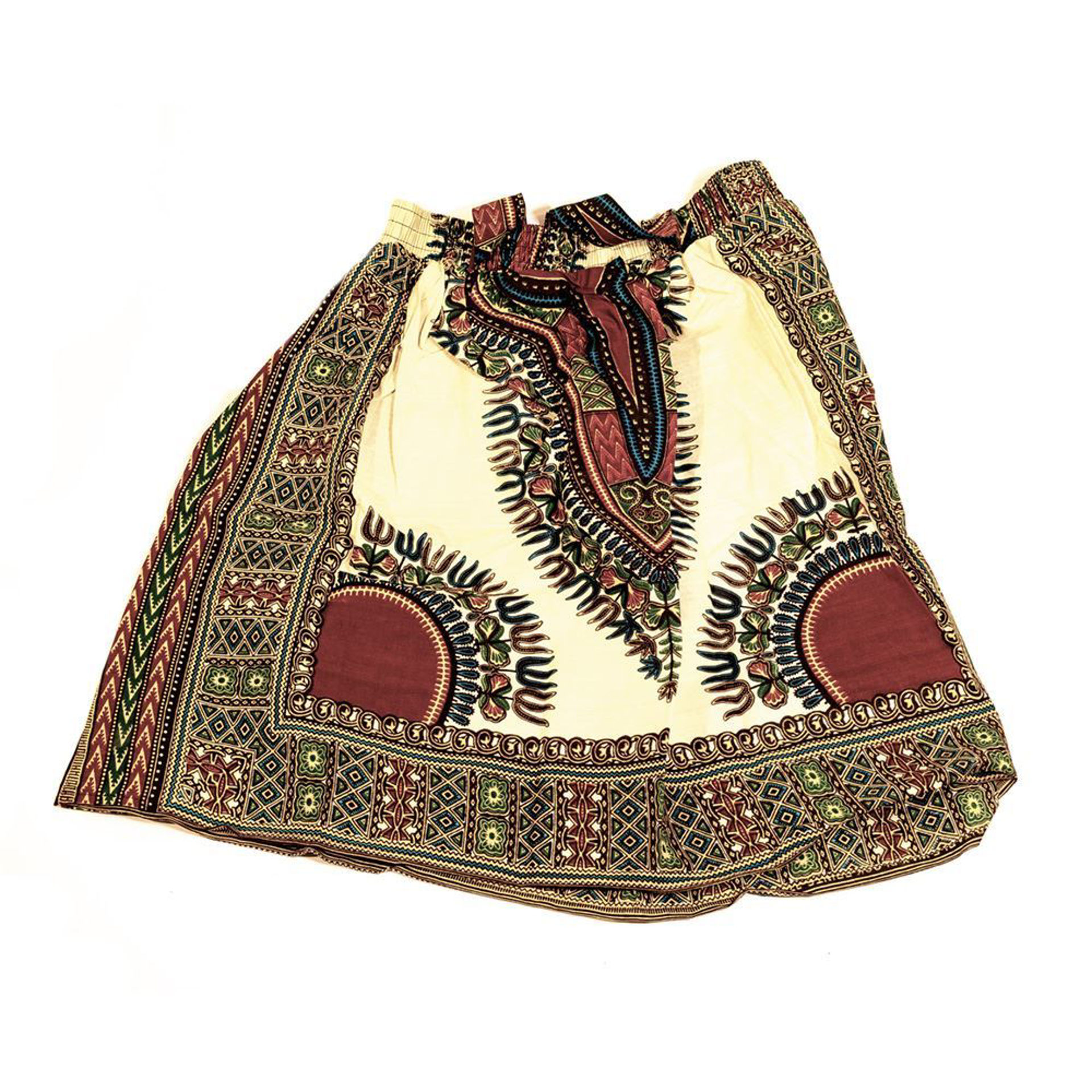 Picture of Traditional Print Short Skirt: Natural