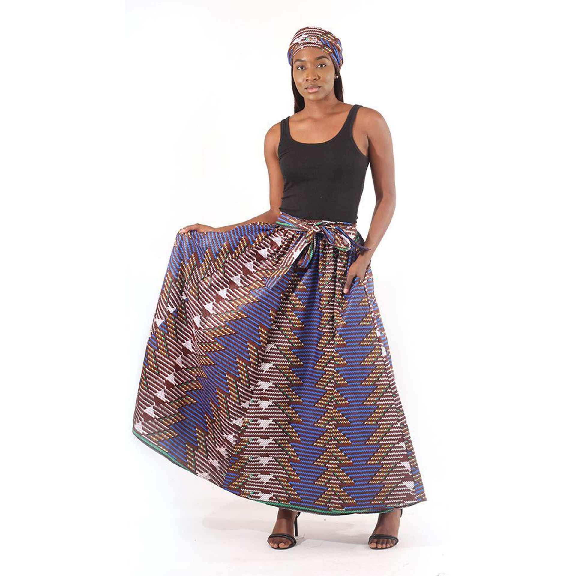 Picture of Interwoven Print Long Skirt: Dark Brown