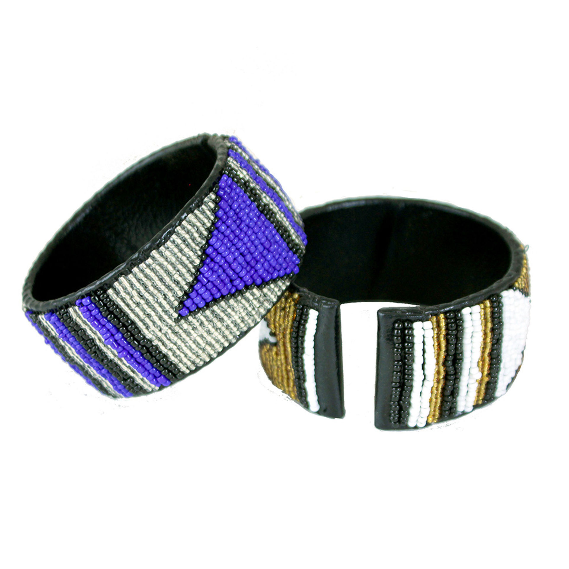 Picture of Set Of 6 Kenyan Beaded Leather Cuffs