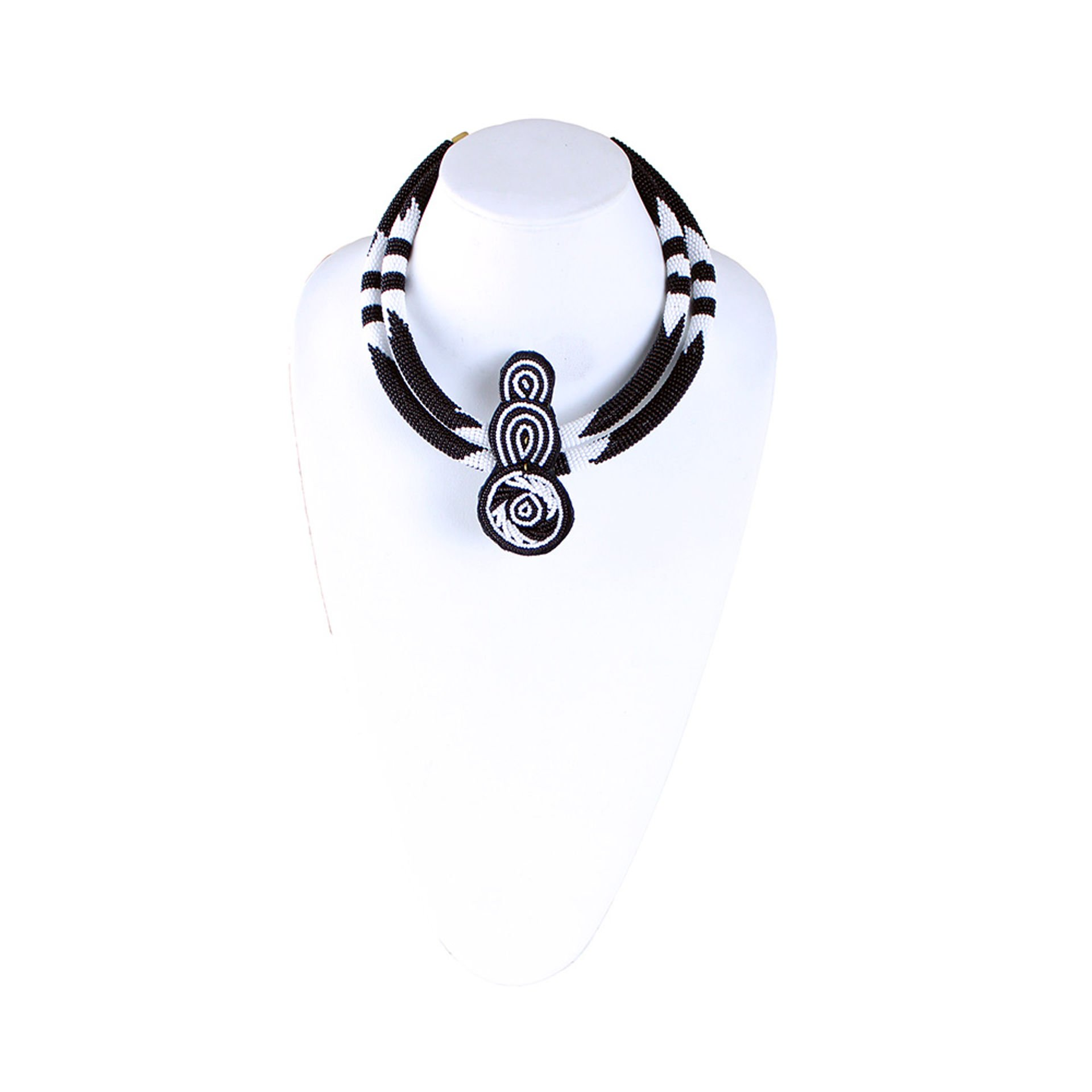 Picture of Black&White Double-Row Fine Bead Choker